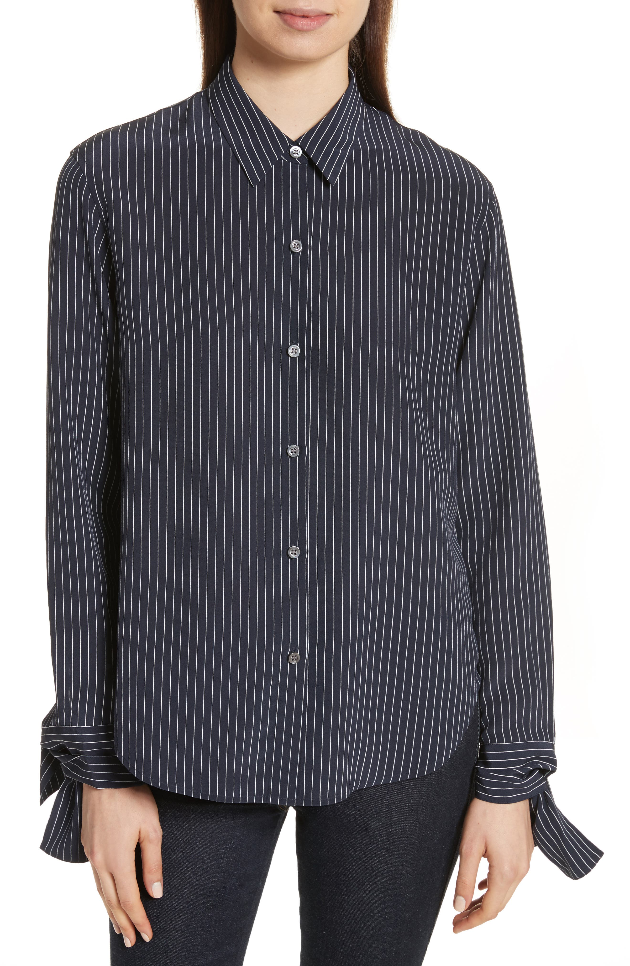 Tie Cuff Pinstripe Silk Blouse,                             Main thumbnail 1, color,                             Deep Navy/ Ivory