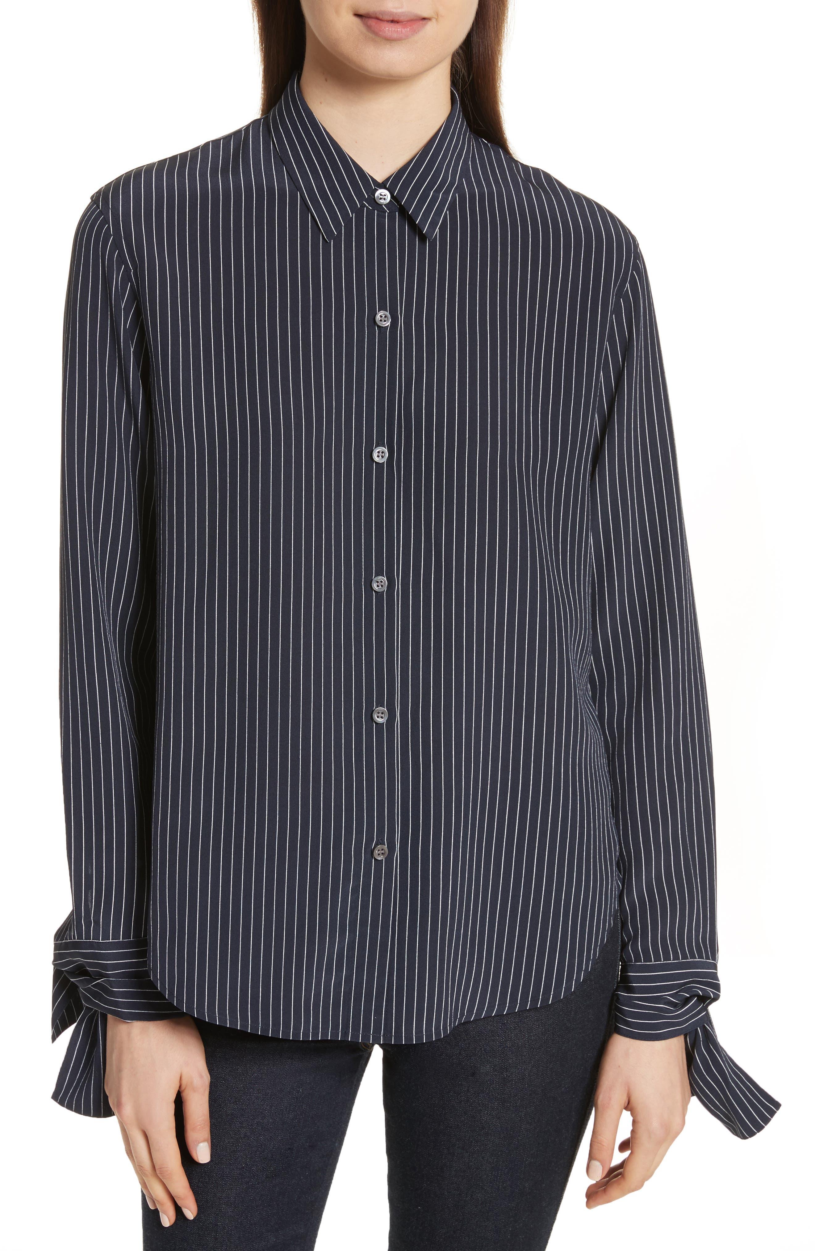 Tie Cuff Pinstripe Silk Blouse,                         Main,                         color, Deep Navy/ Ivory