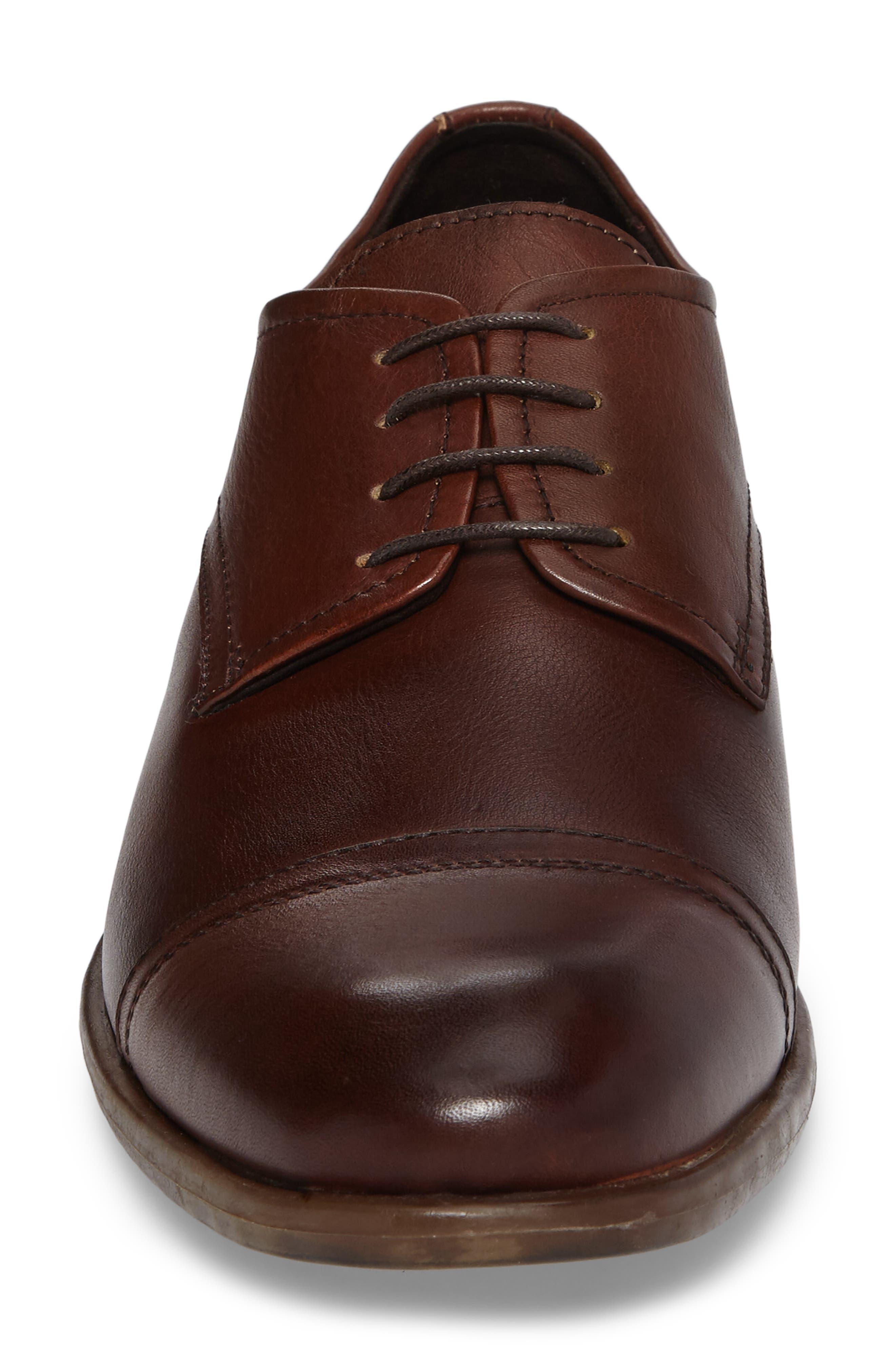 Cap Toe Derby,                             Alternate thumbnail 4, color,                             Cognac Leather