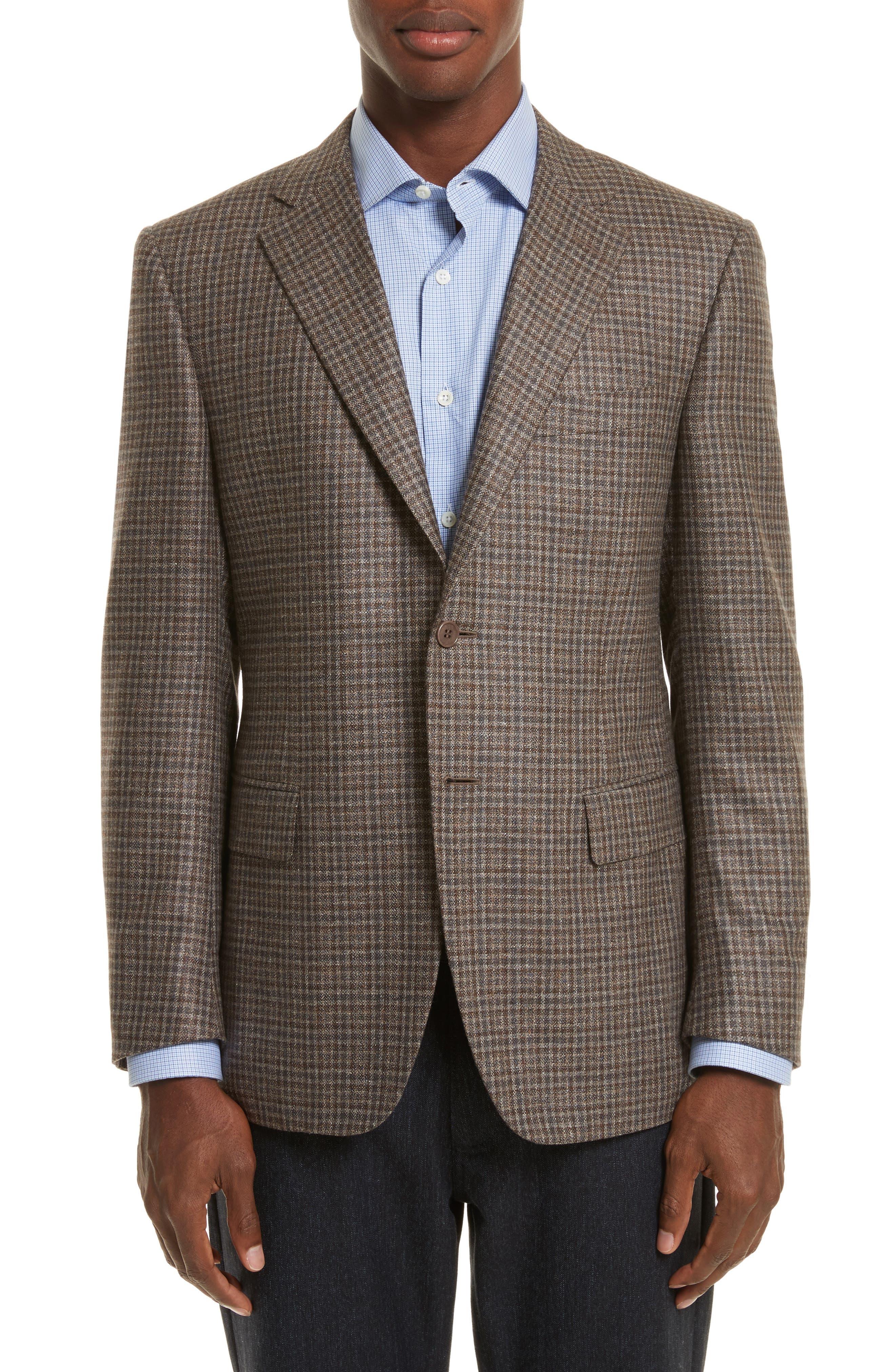 Classic Fit Check Silk & Wool Sport Coat,                         Main,                         color, Beige
