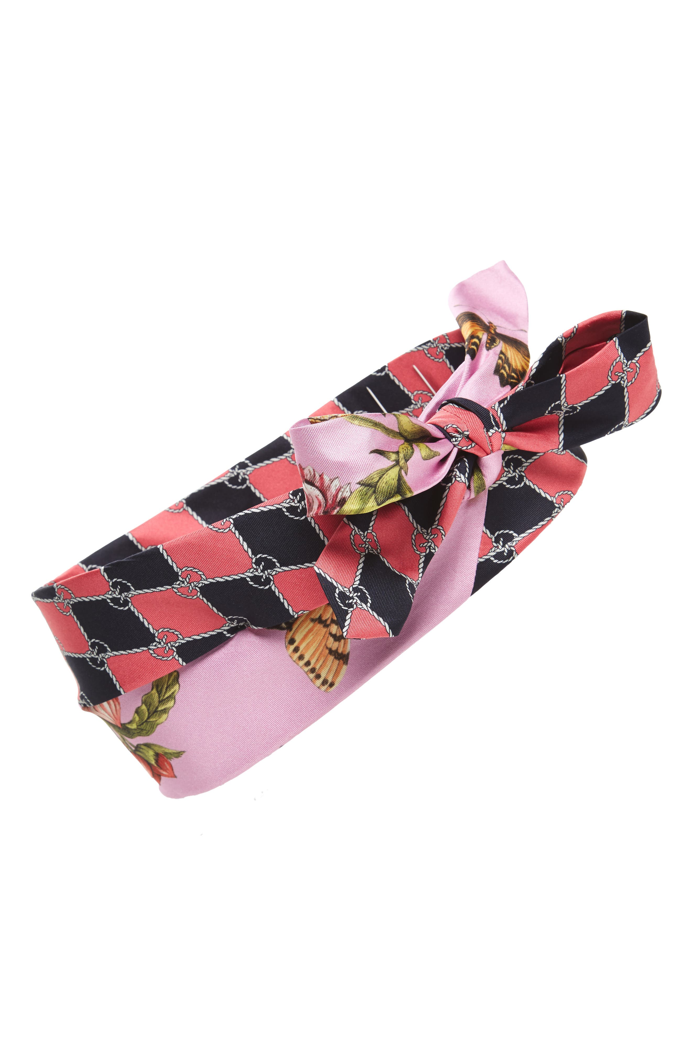 Botanic Chane Silk Headband,                             Main thumbnail 1, color,                             Pink