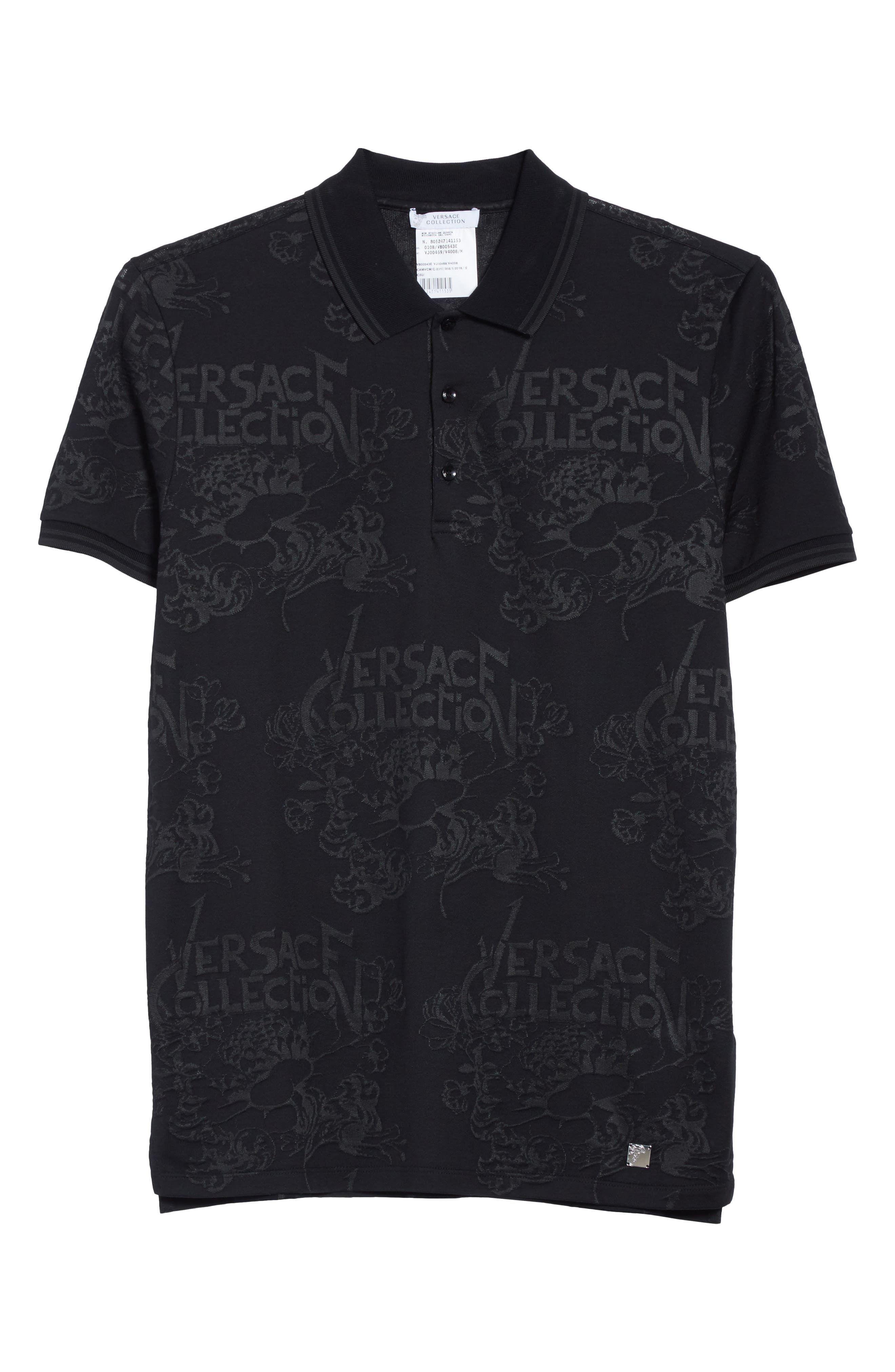 Alternate Image 6  - Versace Collection Tonal Jacquard Polo