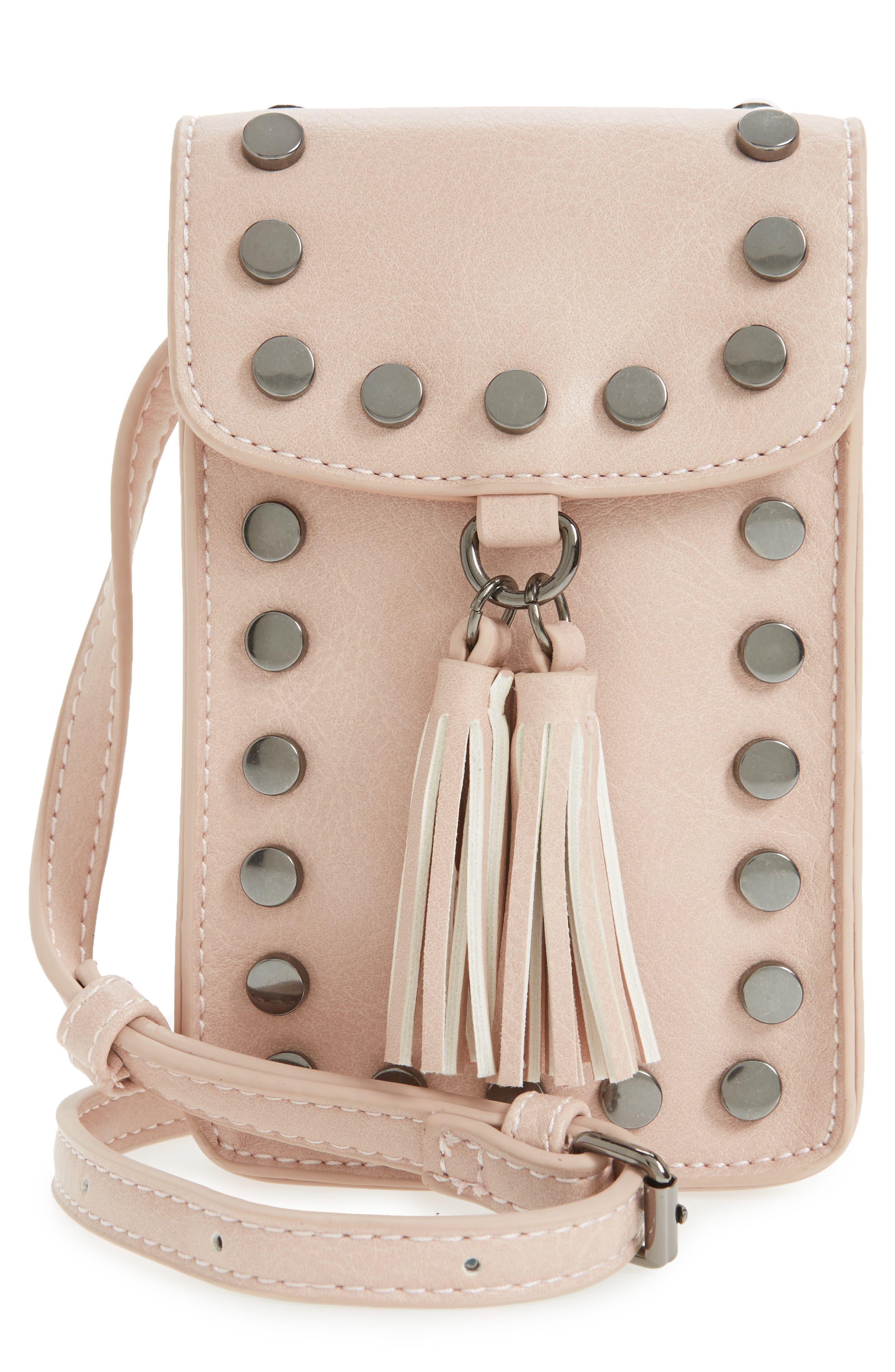Studded Phone Crossbody Bag,                             Main thumbnail 1, color,                             Blush/ Hematite