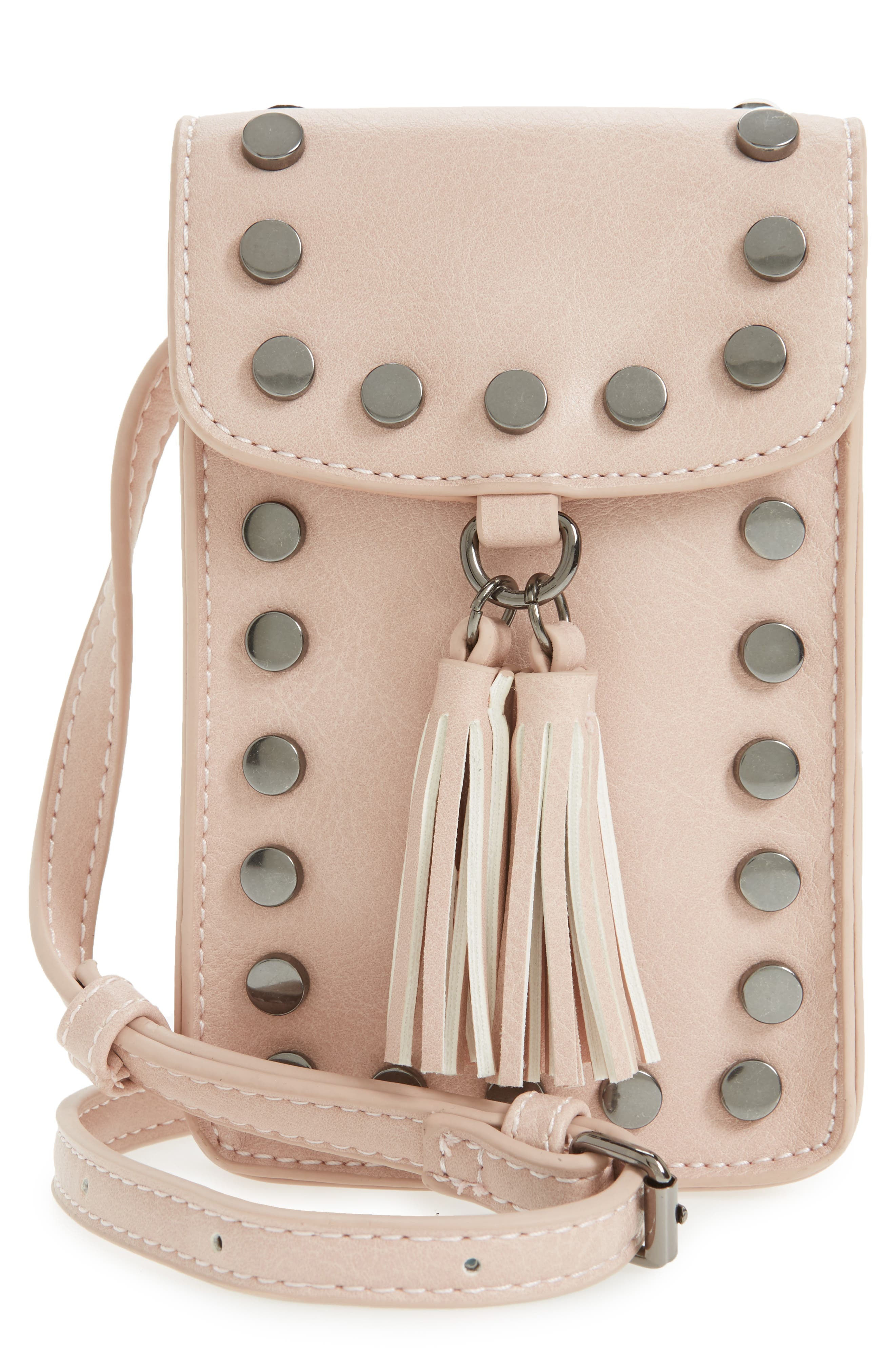 Studded Phone Crossbody Bag,                         Main,                         color, Blush/ Hematite