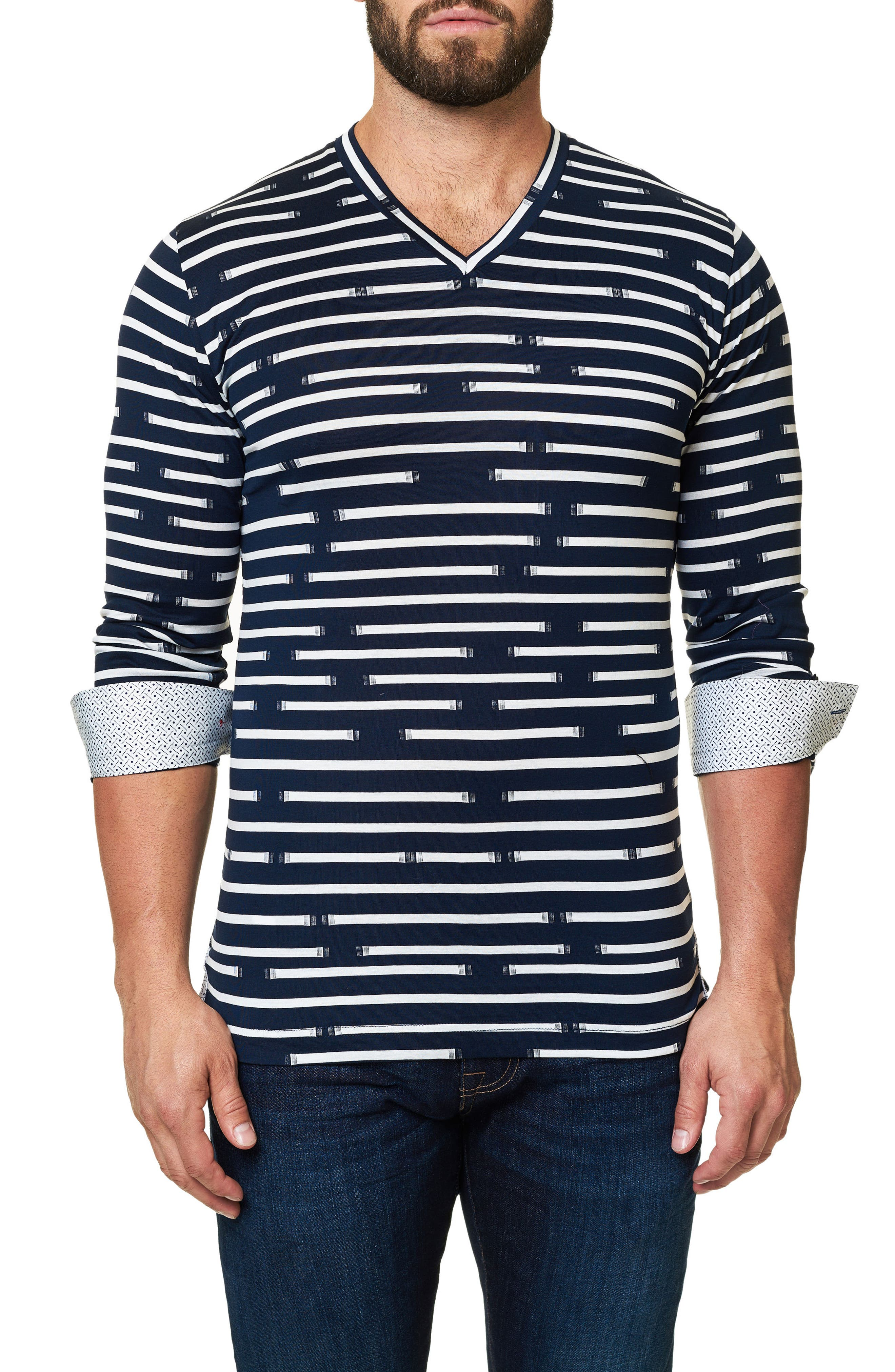 Print V-Neck T-Shirt,                             Alternate thumbnail 4, color,                             Navy Blue
