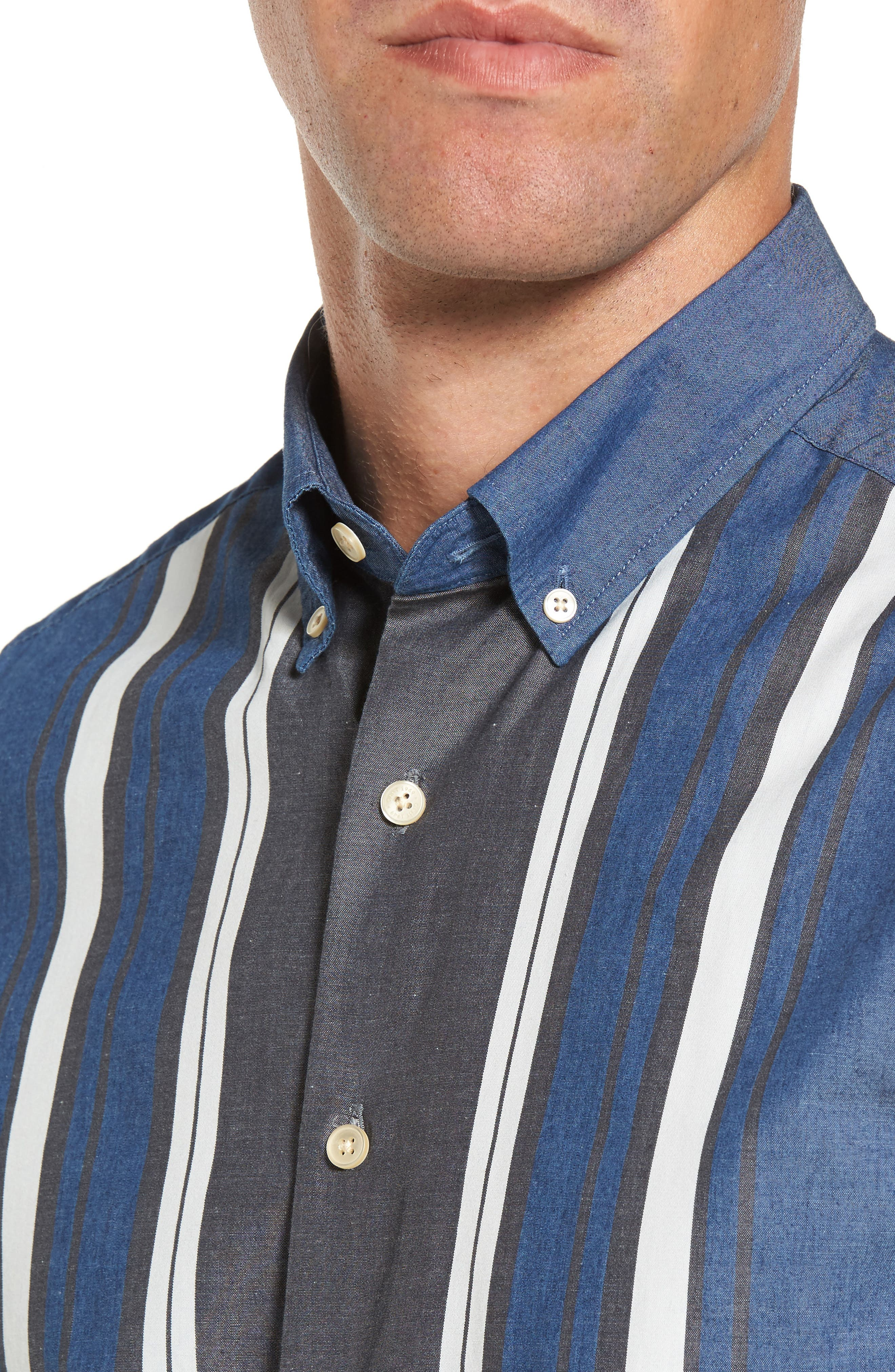 Tech Slim Fit Varsity Stripe Sport Shirt,                             Alternate thumbnail 4, color,                             Evening Blue