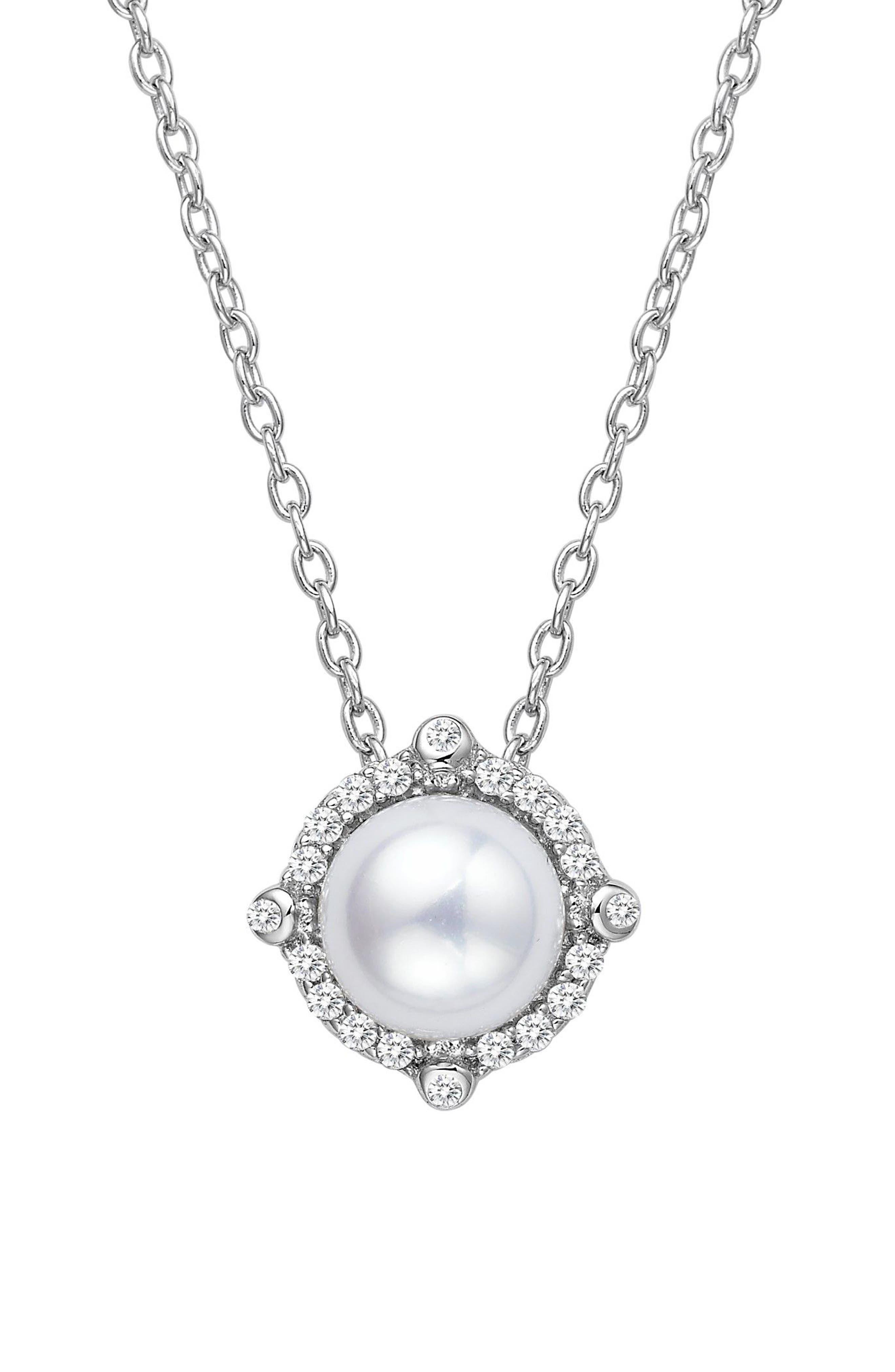 Lafonn Simulated Diamond & Pearl Necklace