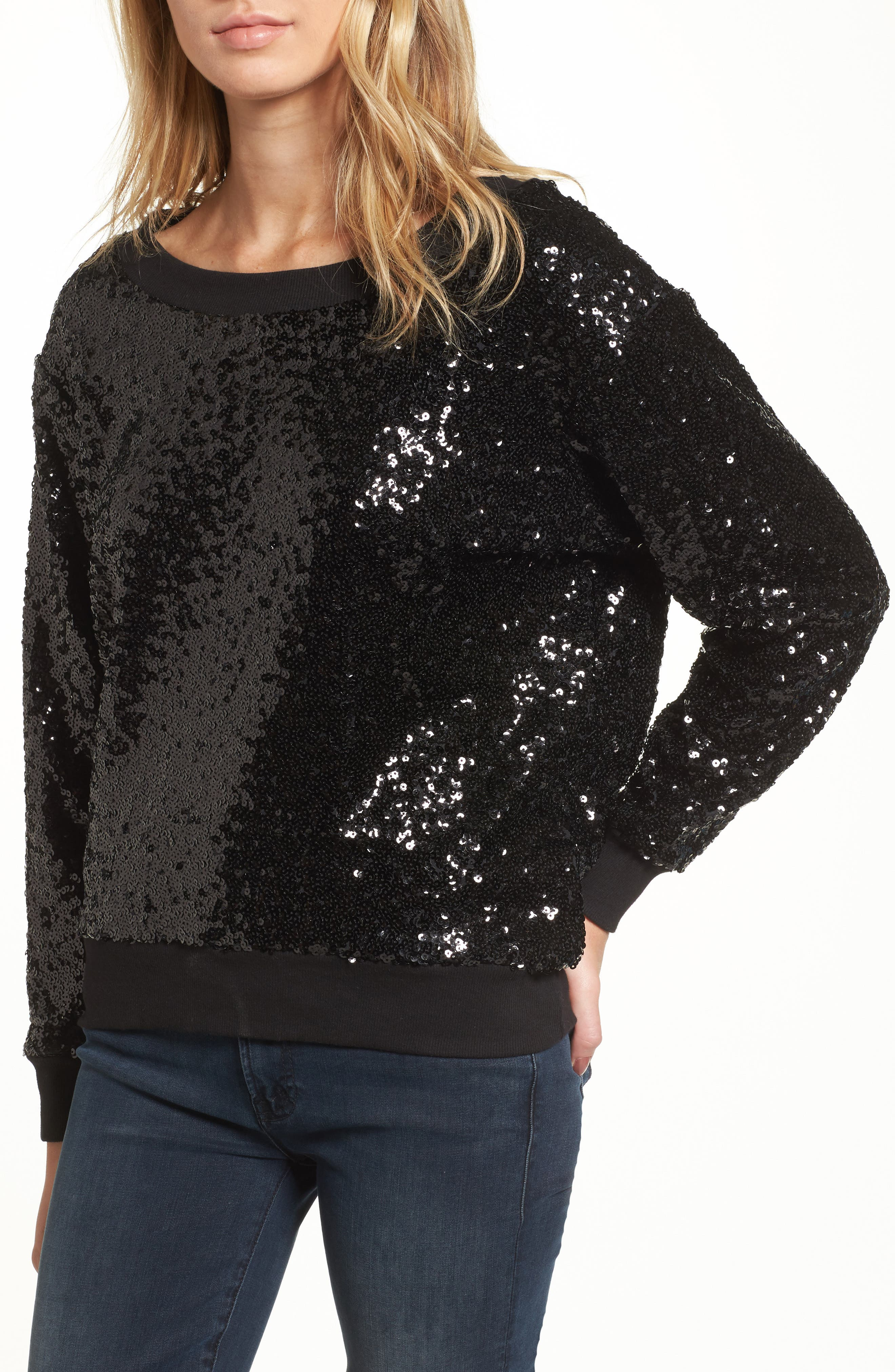 Sequin Sweatshirt,                             Main thumbnail 1, color,                             Black