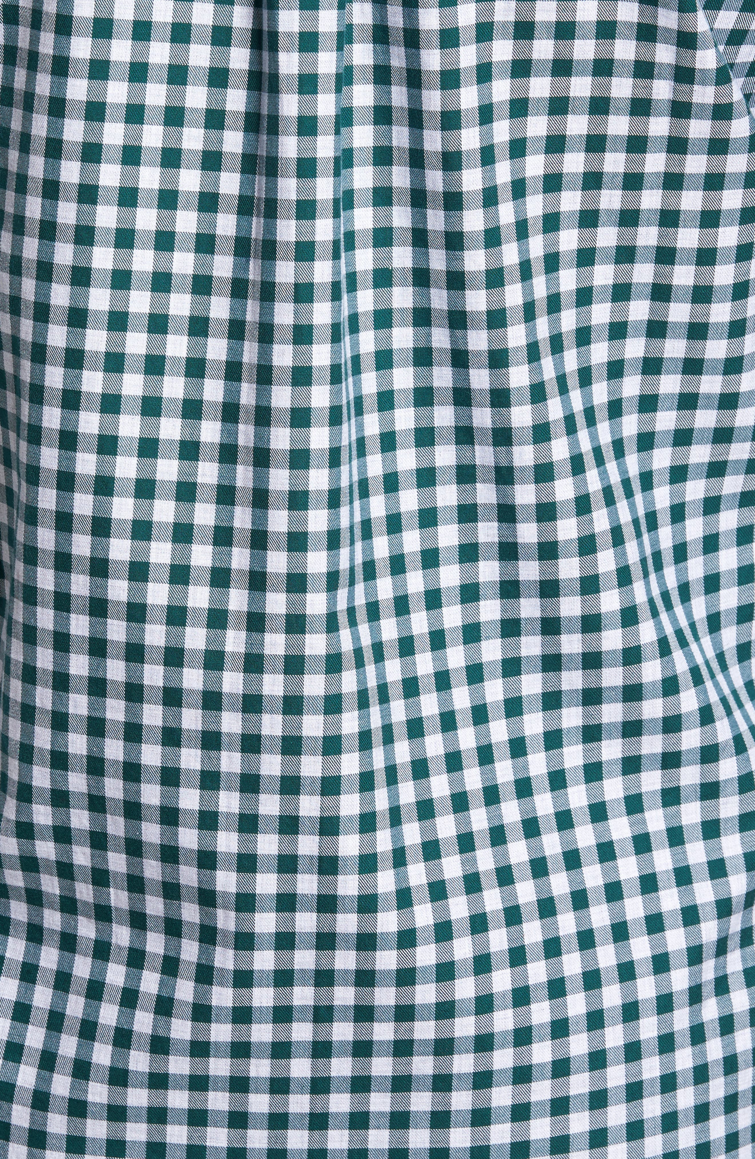 Classic Fit Tucker Cliff Gingham Sport Shirt,                             Alternate thumbnail 5, color,                             Charleston Green