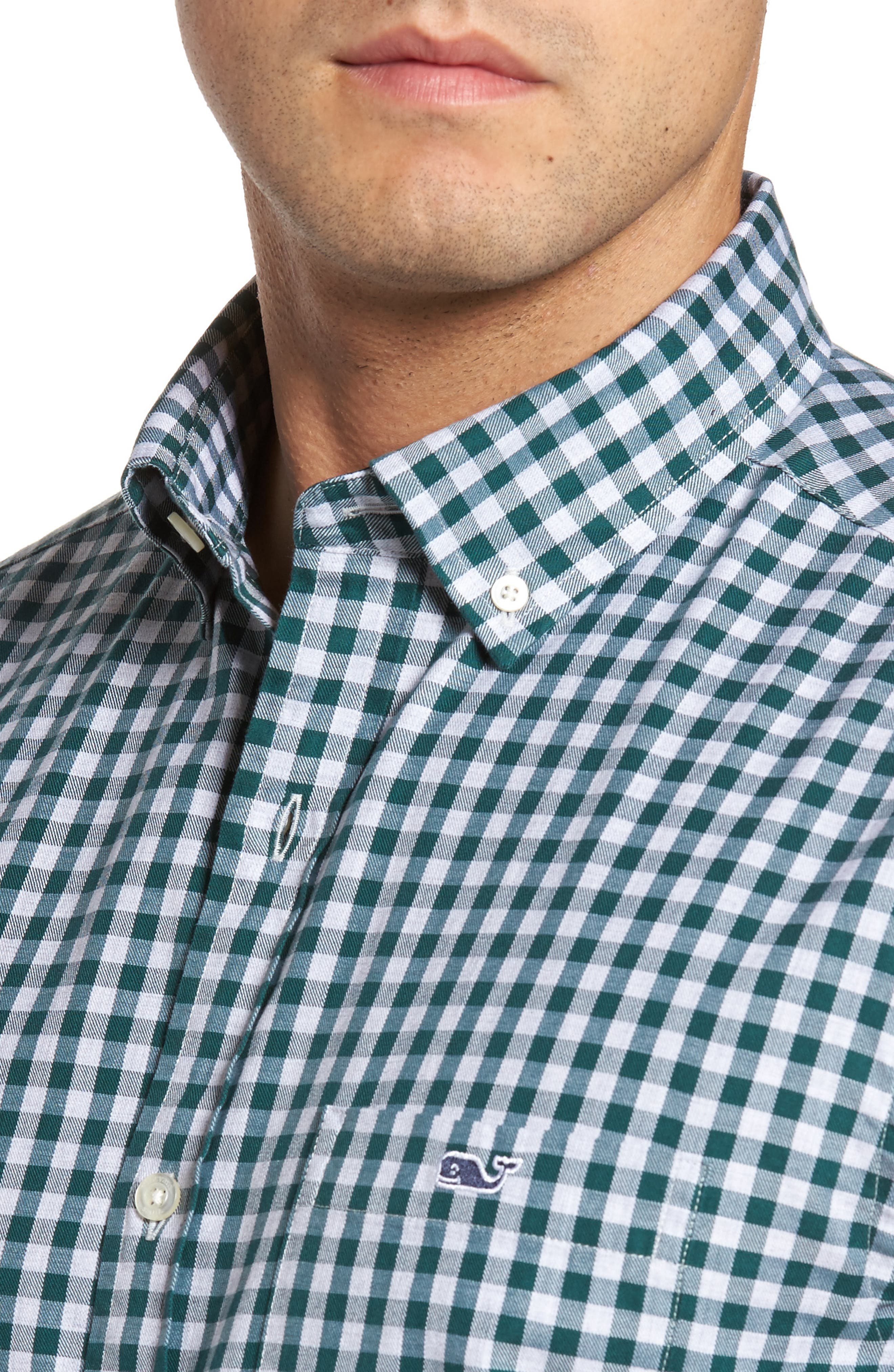 Classic Fit Tucker Cliff Gingham Sport Shirt,                             Alternate thumbnail 4, color,                             Charleston Green