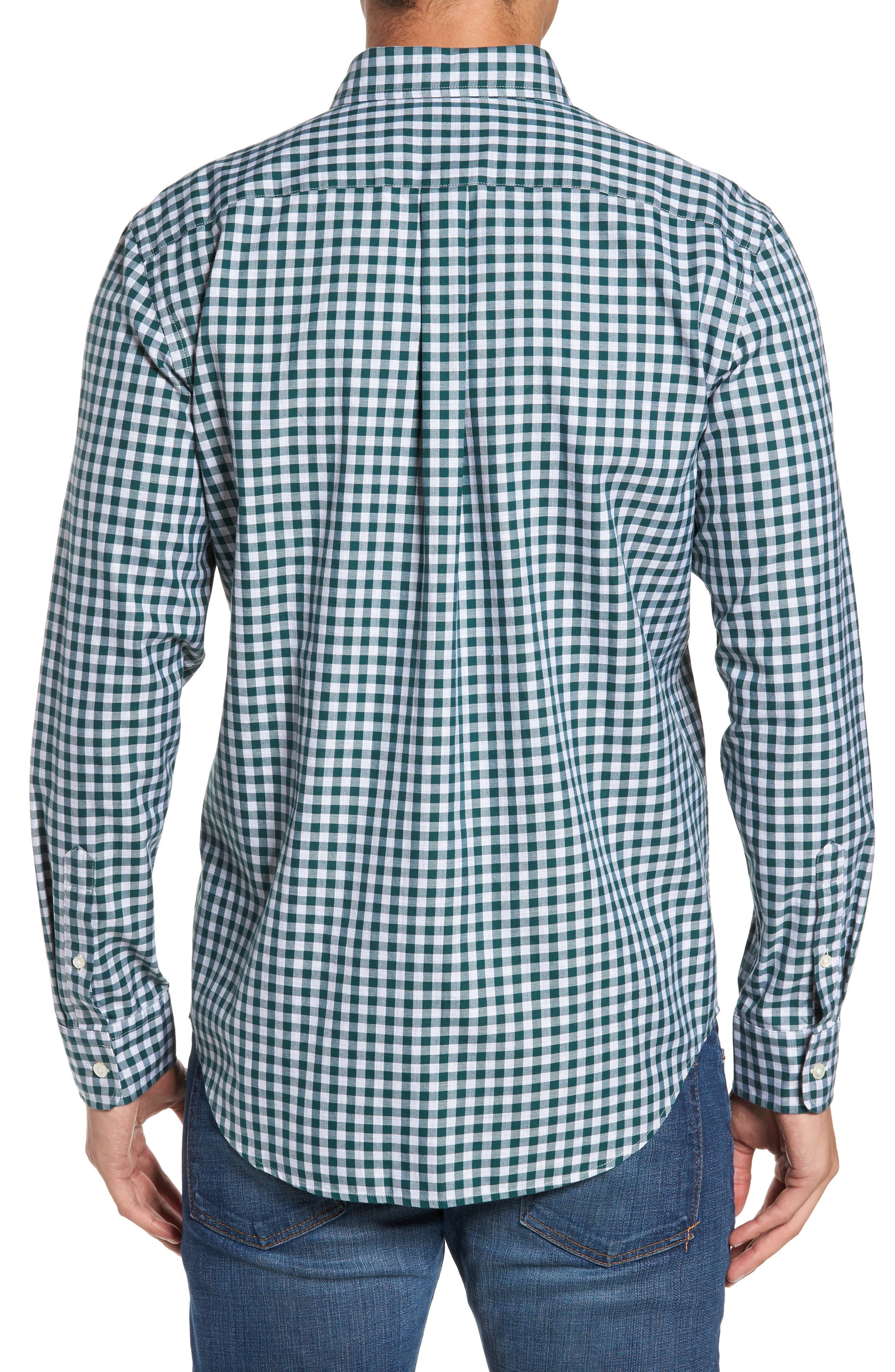Classic Fit Tucker Cliff Gingham Sport Shirt,                             Alternate thumbnail 2, color,                             Charleston Green