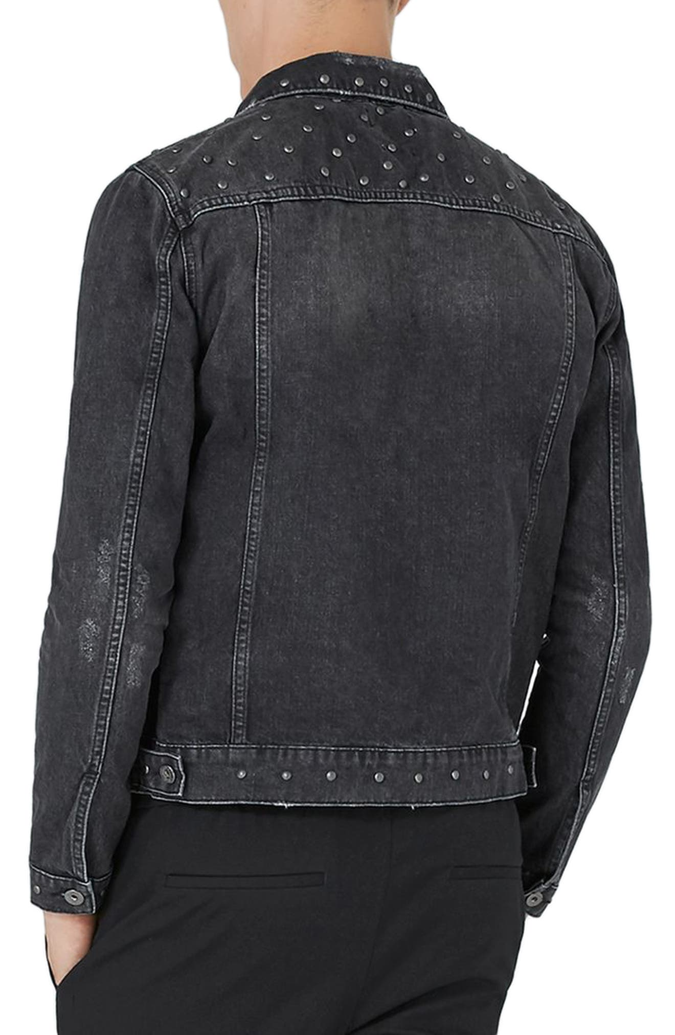 Alternate Image 2  - Topman Studded Denim Jacket