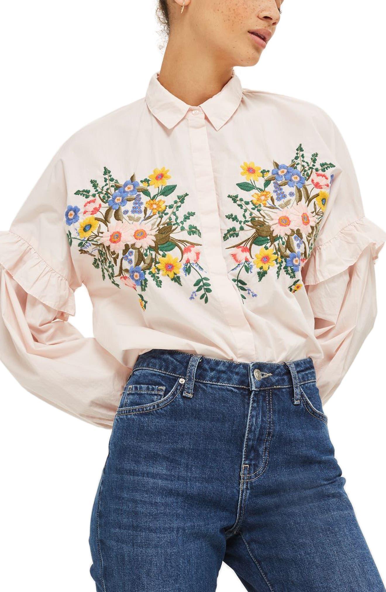 Alternate Image 5  - Topshop Forest Floral Embroidered Shirt