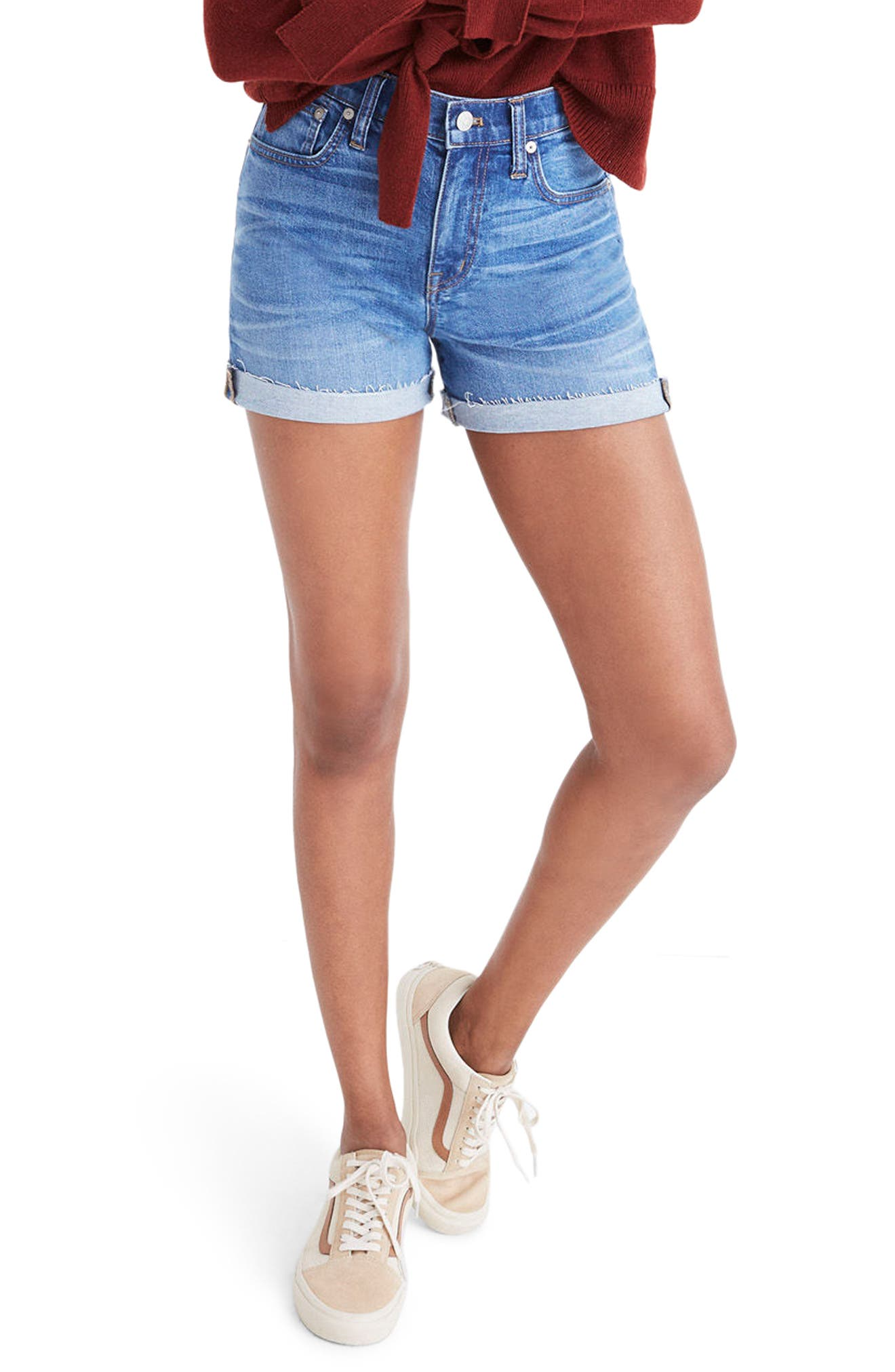 High Rise Denim Shorts,                         Main,                         color, Maloney