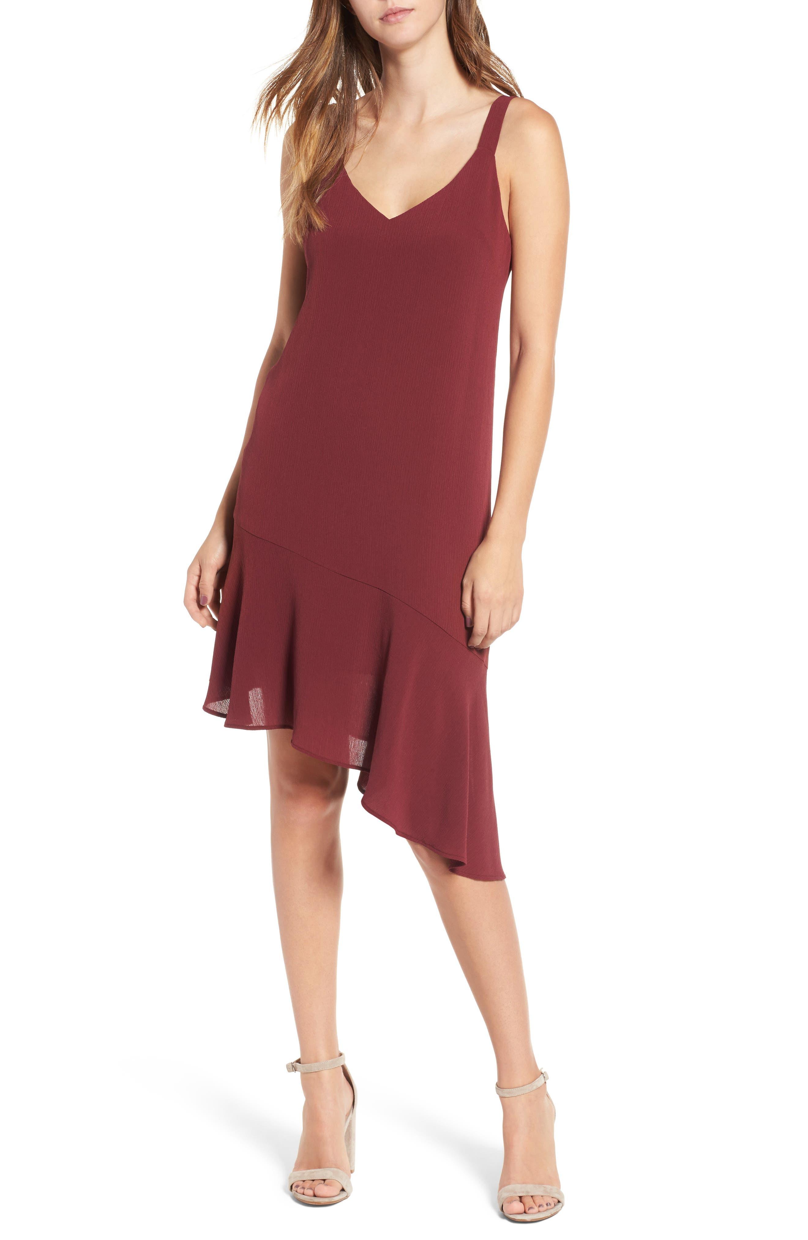 Asymmetrical Ruffle Hem Dress,                             Main thumbnail 1, color,                             Red Tannin
