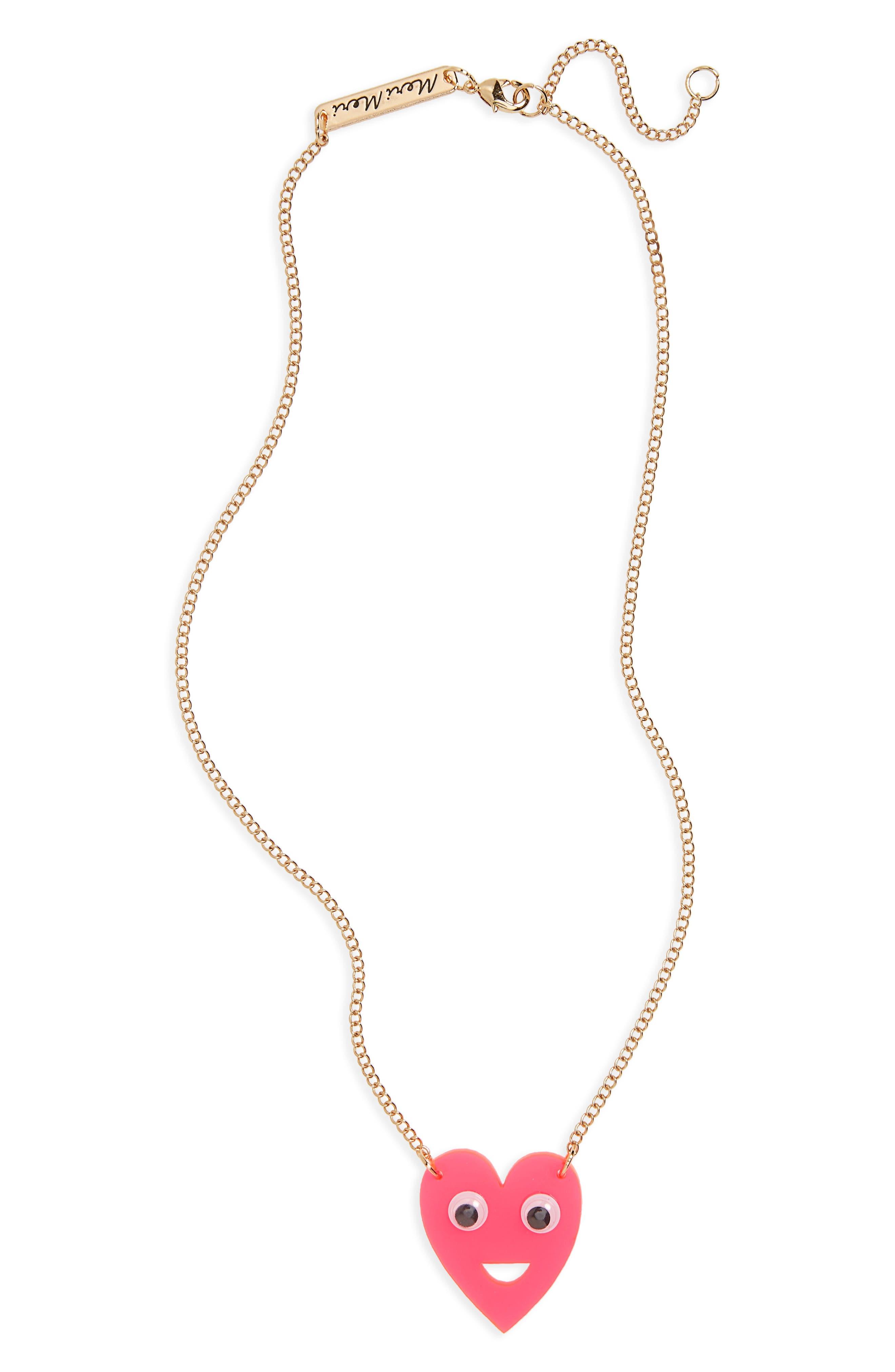 Main Image - Meri Meri Heart with Eyes Pendant Necklace (Girls)