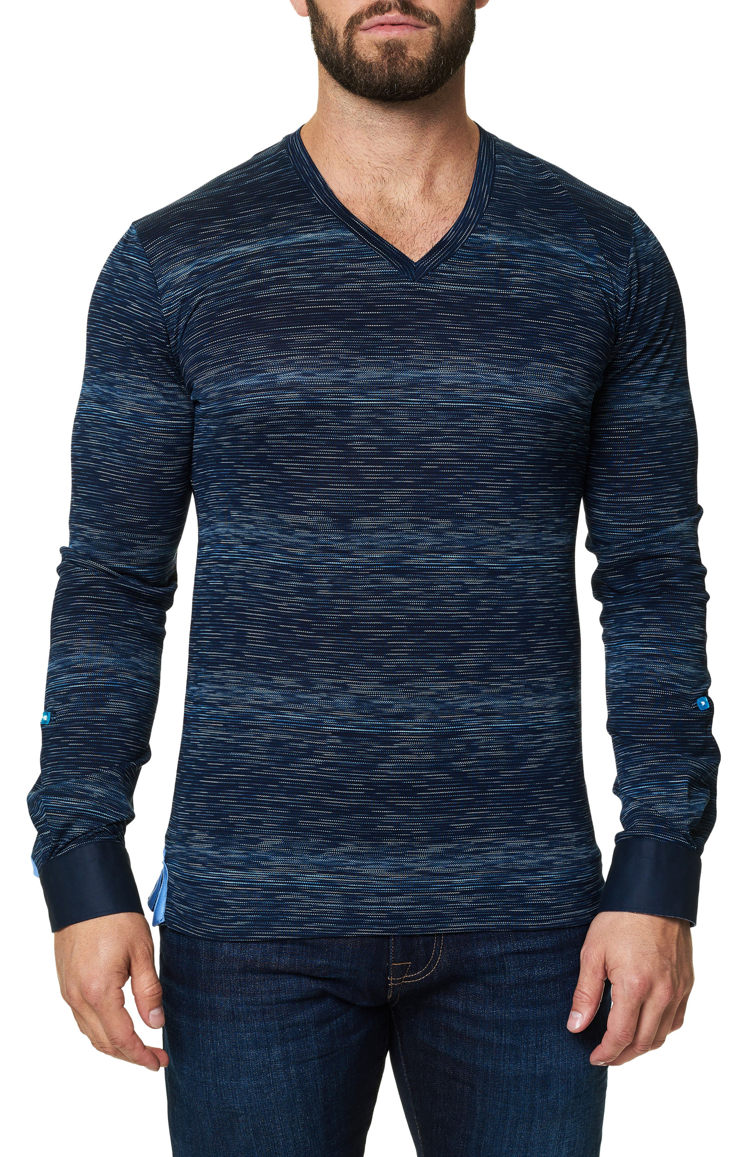 Stripe Long Sleeve V-Neck,                             Main thumbnail 1, color,                             Navy Blue