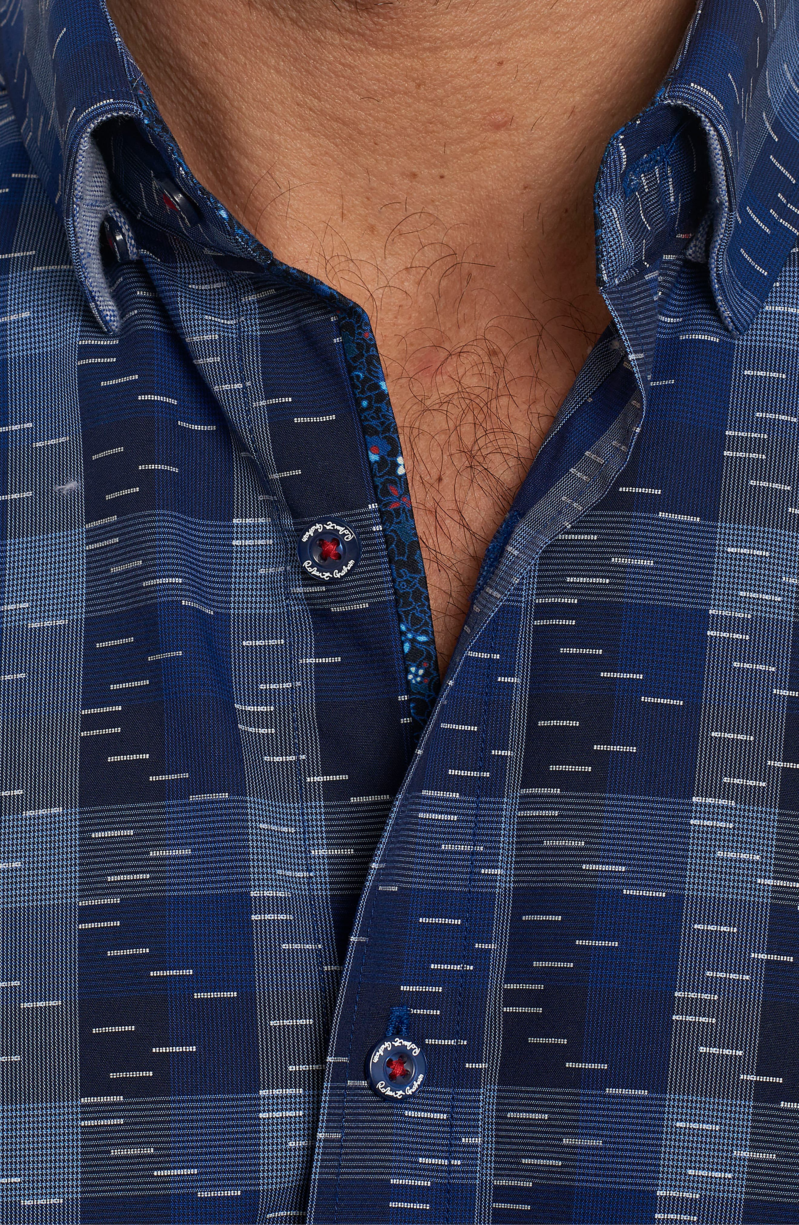 Tailored Fit Print Sport Shirt,                             Alternate thumbnail 4, color,                             Navy