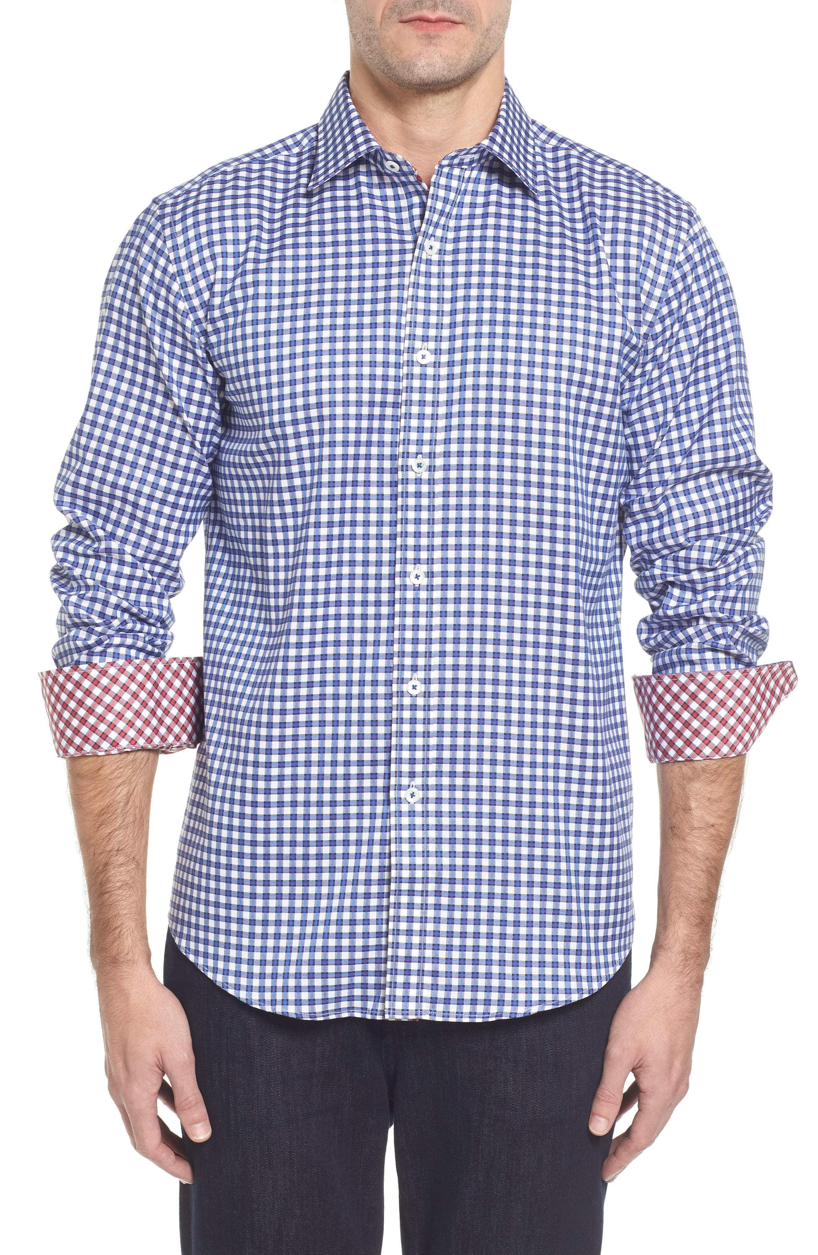 Slim Fit Check Sport Shirt,                             Main thumbnail 1, color,                             Classic Blue