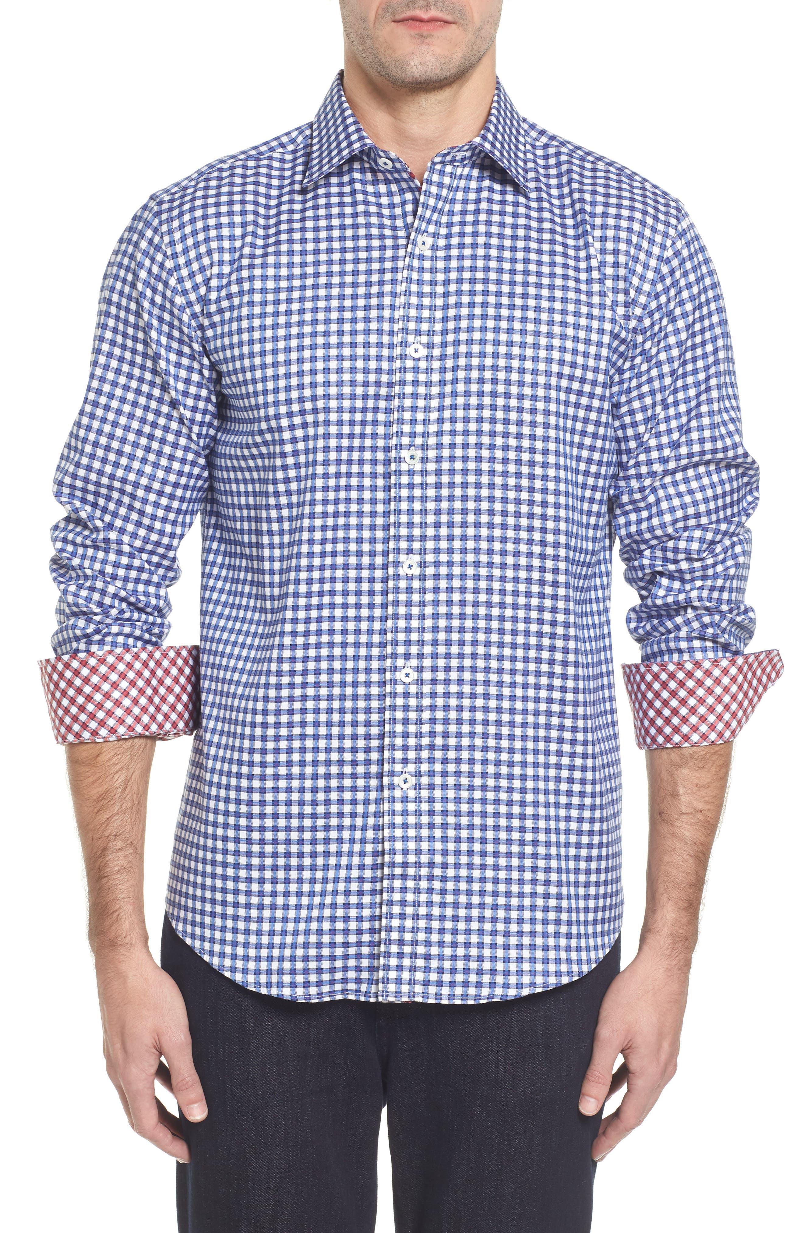 Slim Fit Check Sport Shirt,                         Main,                         color, Classic Blue