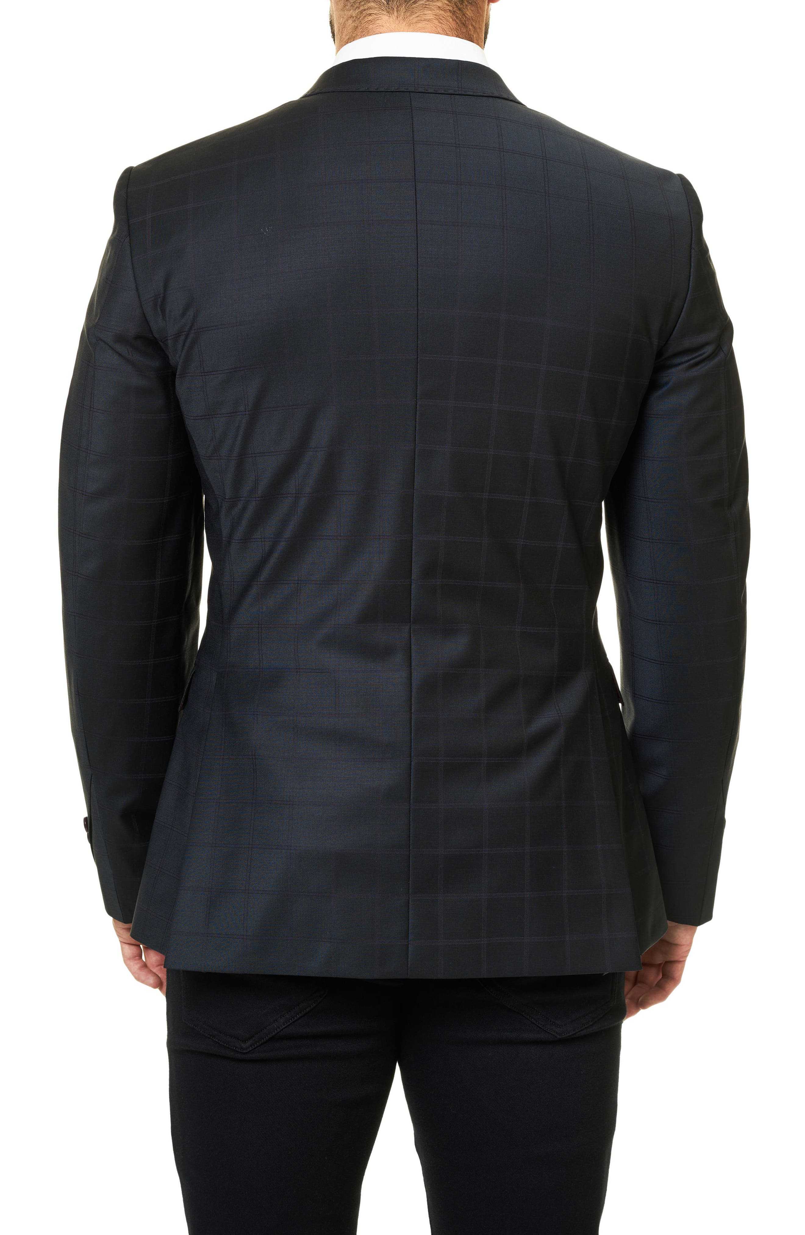 Descarte Windowpane Sport Coat,                             Alternate thumbnail 2, color,                             Solid Black