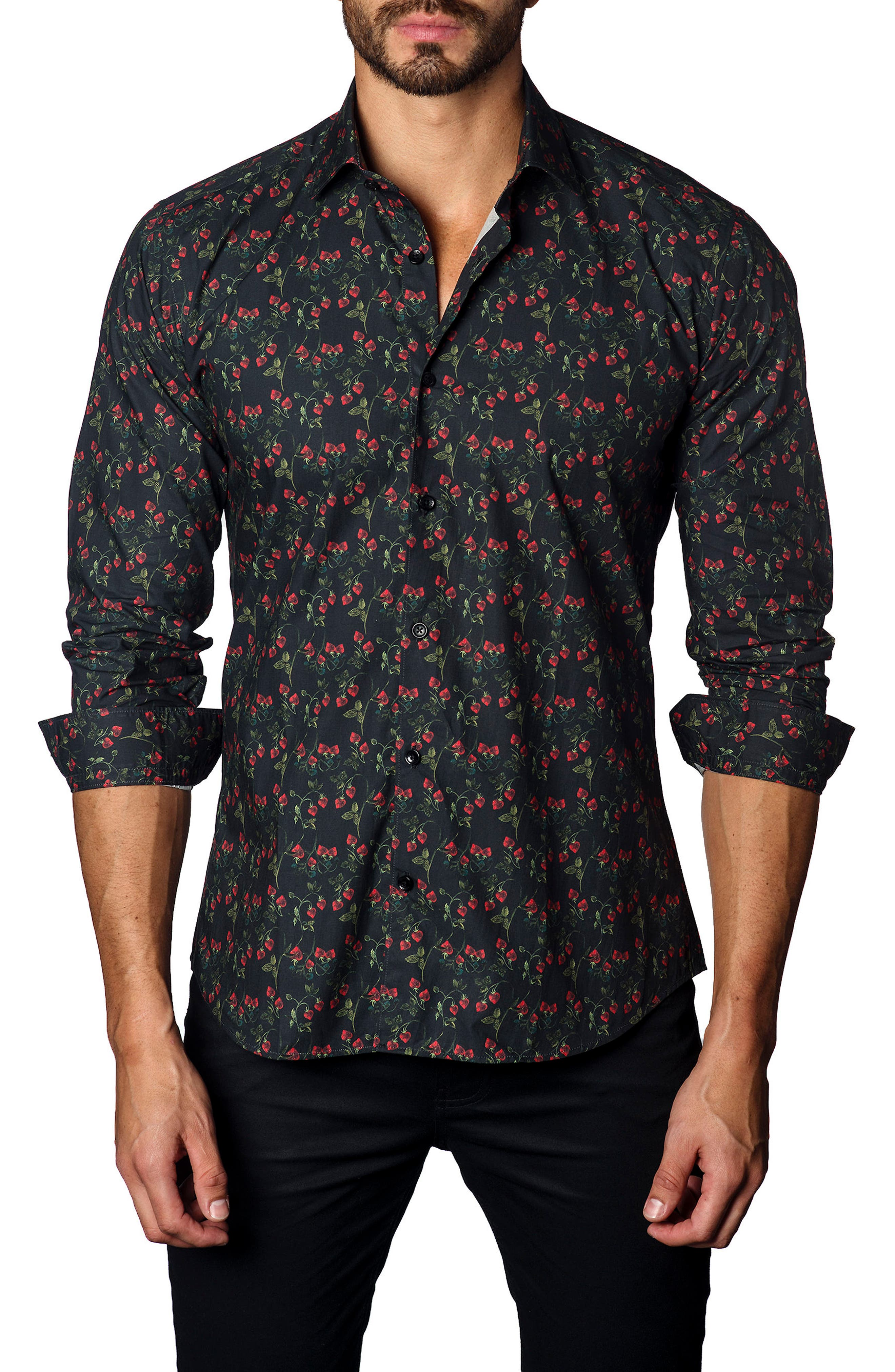 Strawberry Print Sport Shirt,                         Main,                         color, Black/ Strawberry