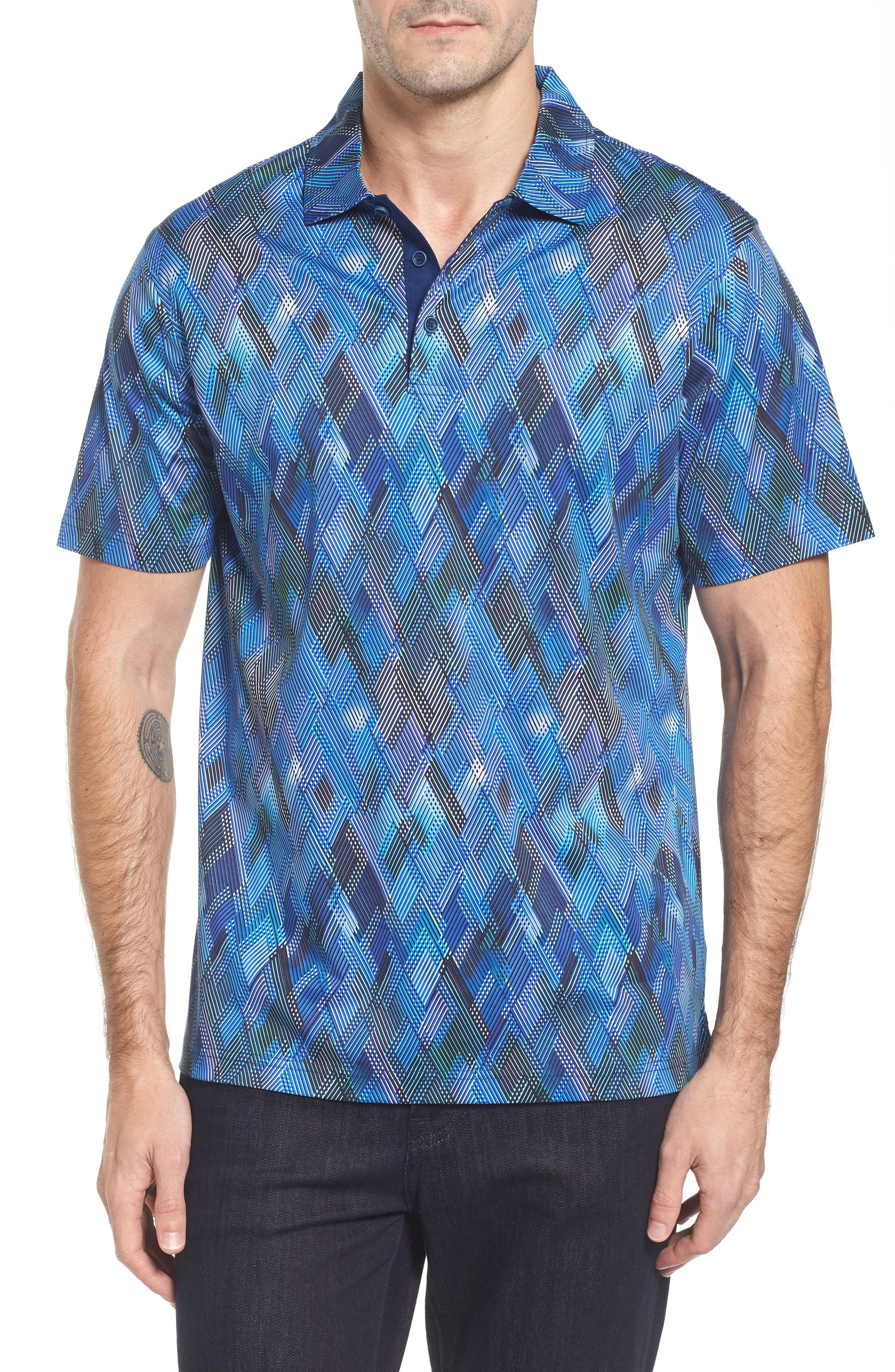 Classic Fit Diamond Grid Polo,                         Main,                         color, Orchid