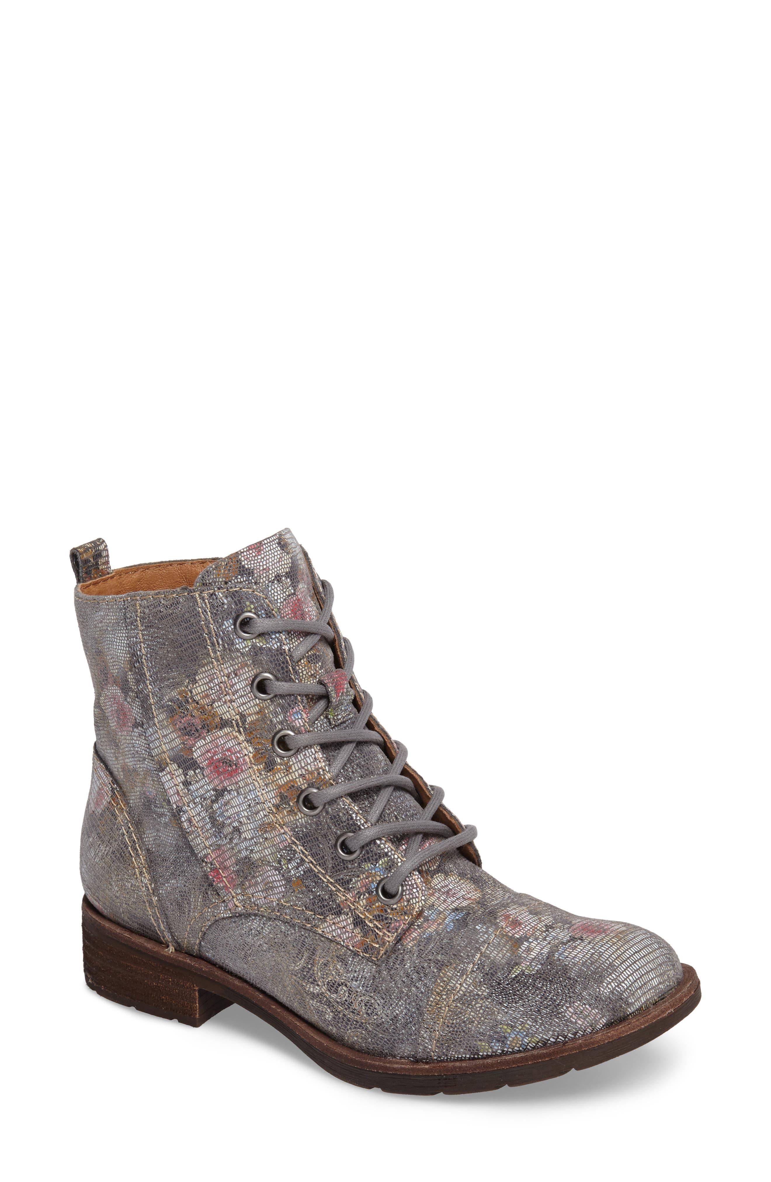 Belton Cap Toe Combat Boot,                             Main thumbnail 1, color,                             Grey Leather
