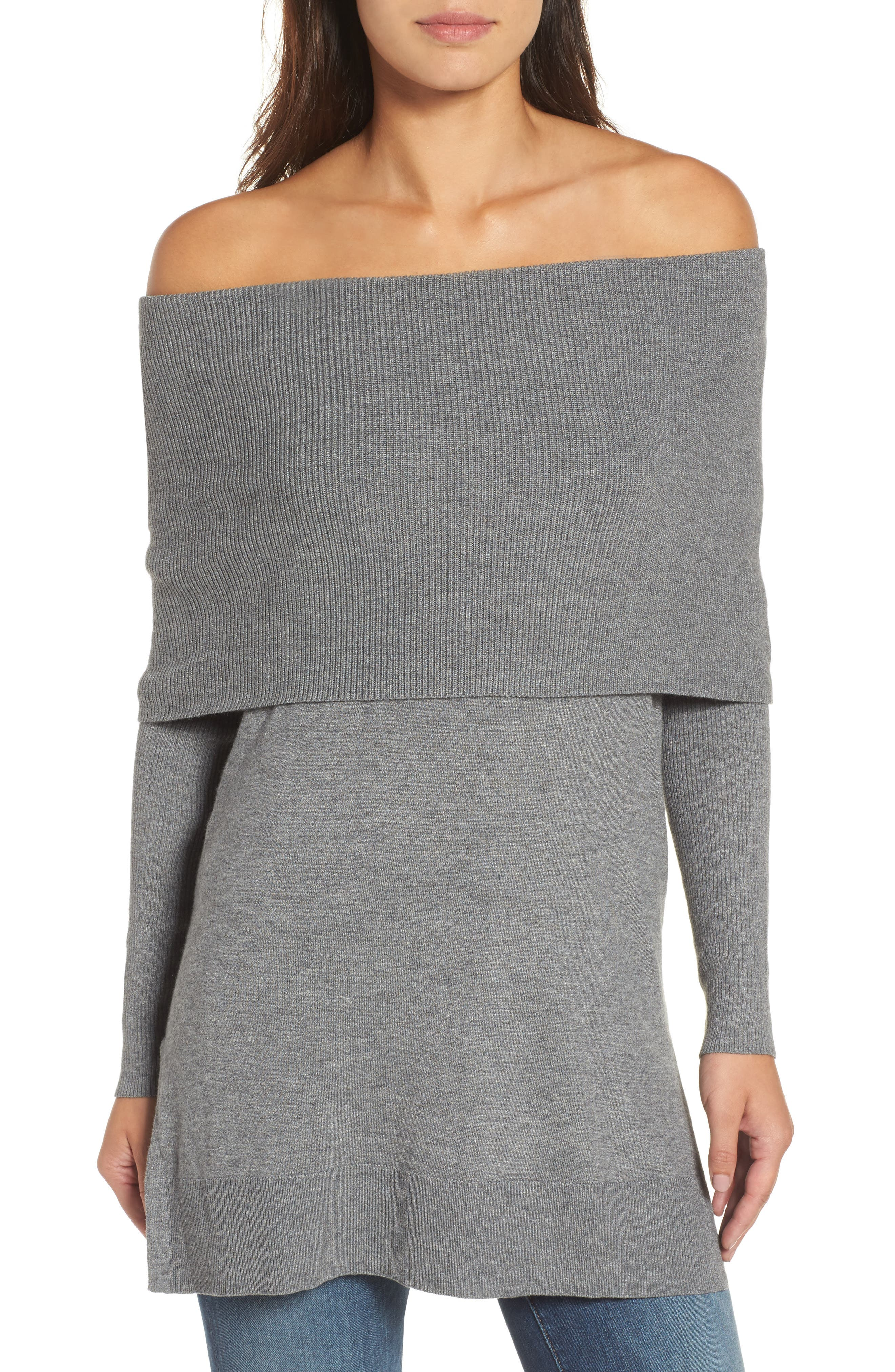 Side Slit Cowl Neck Tunic,                             Alternate thumbnail 5, color,                             Heather Dark Grey