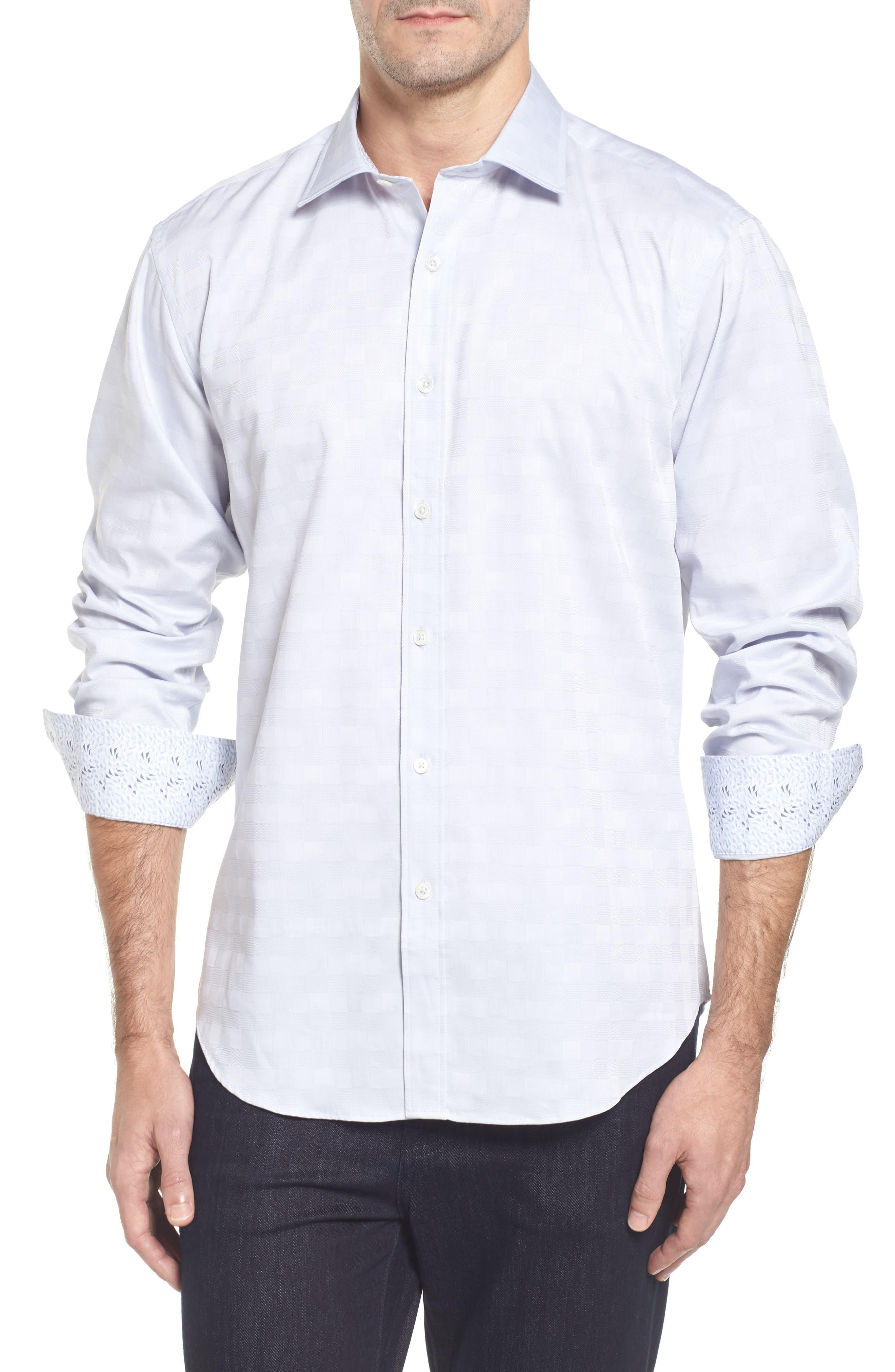 Classic Fit Check Jacquard Sport Shirt,                             Main thumbnail 1, color,                             Silver