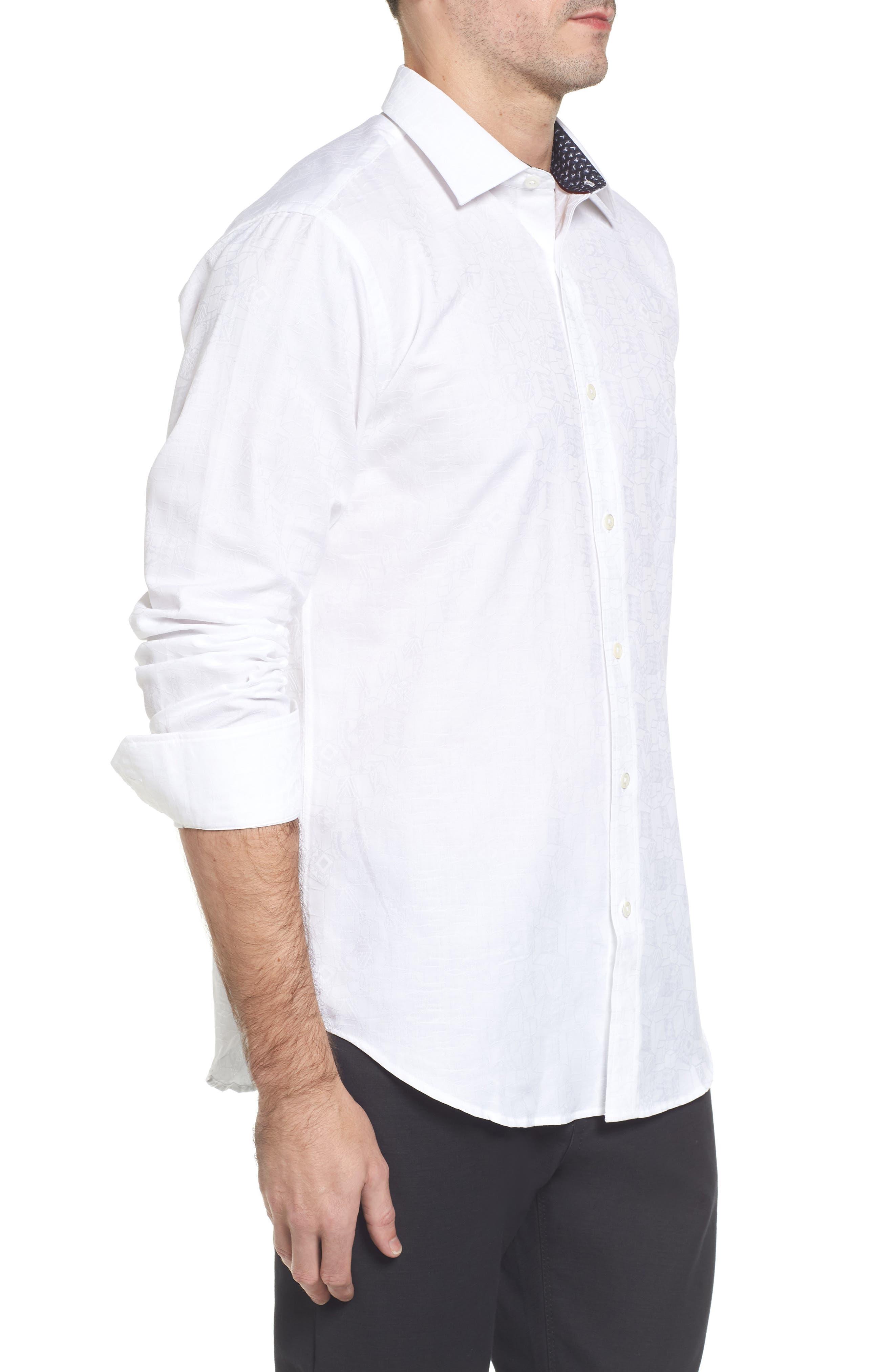 Classic Fit Jacquard Sport Shirt,                             Alternate thumbnail 3, color,                             White