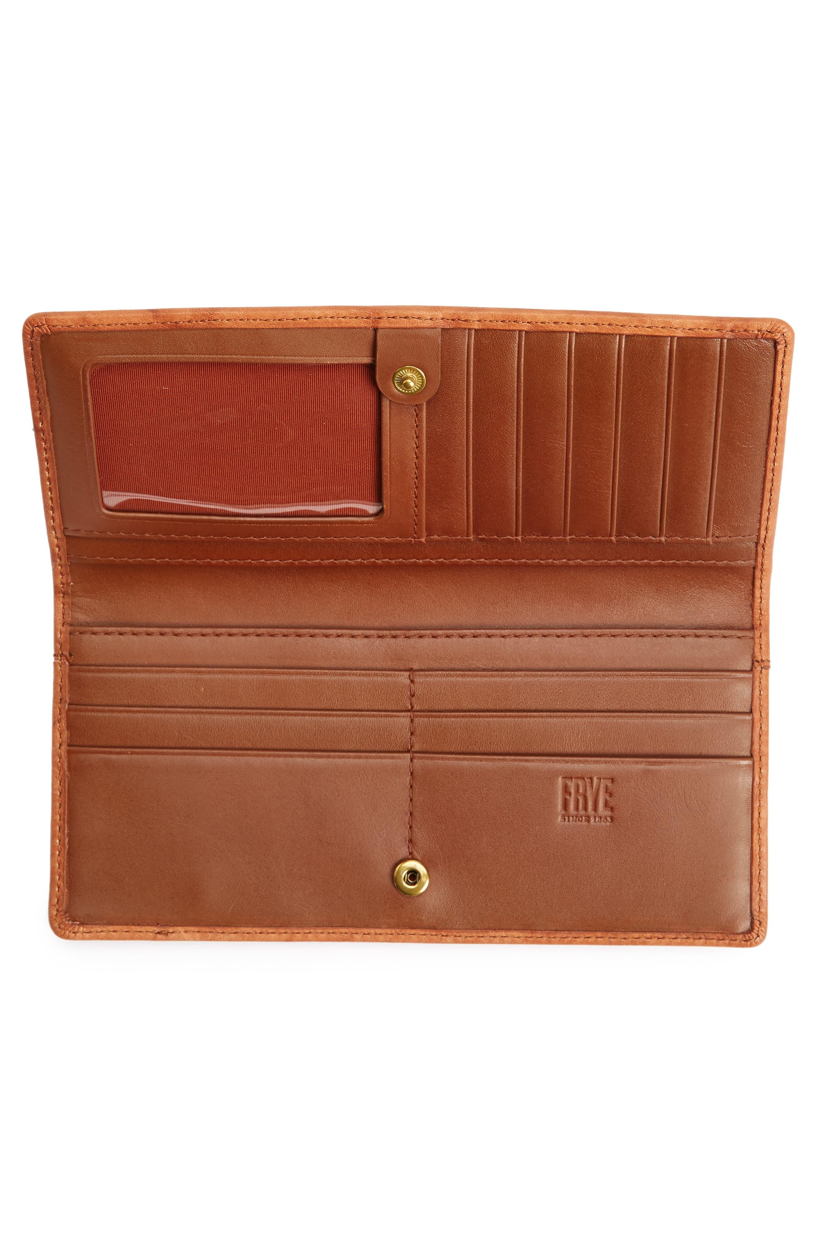 Campus Rivet Slim Leather Wallet,                             Alternate thumbnail 2, color,                             Saddle