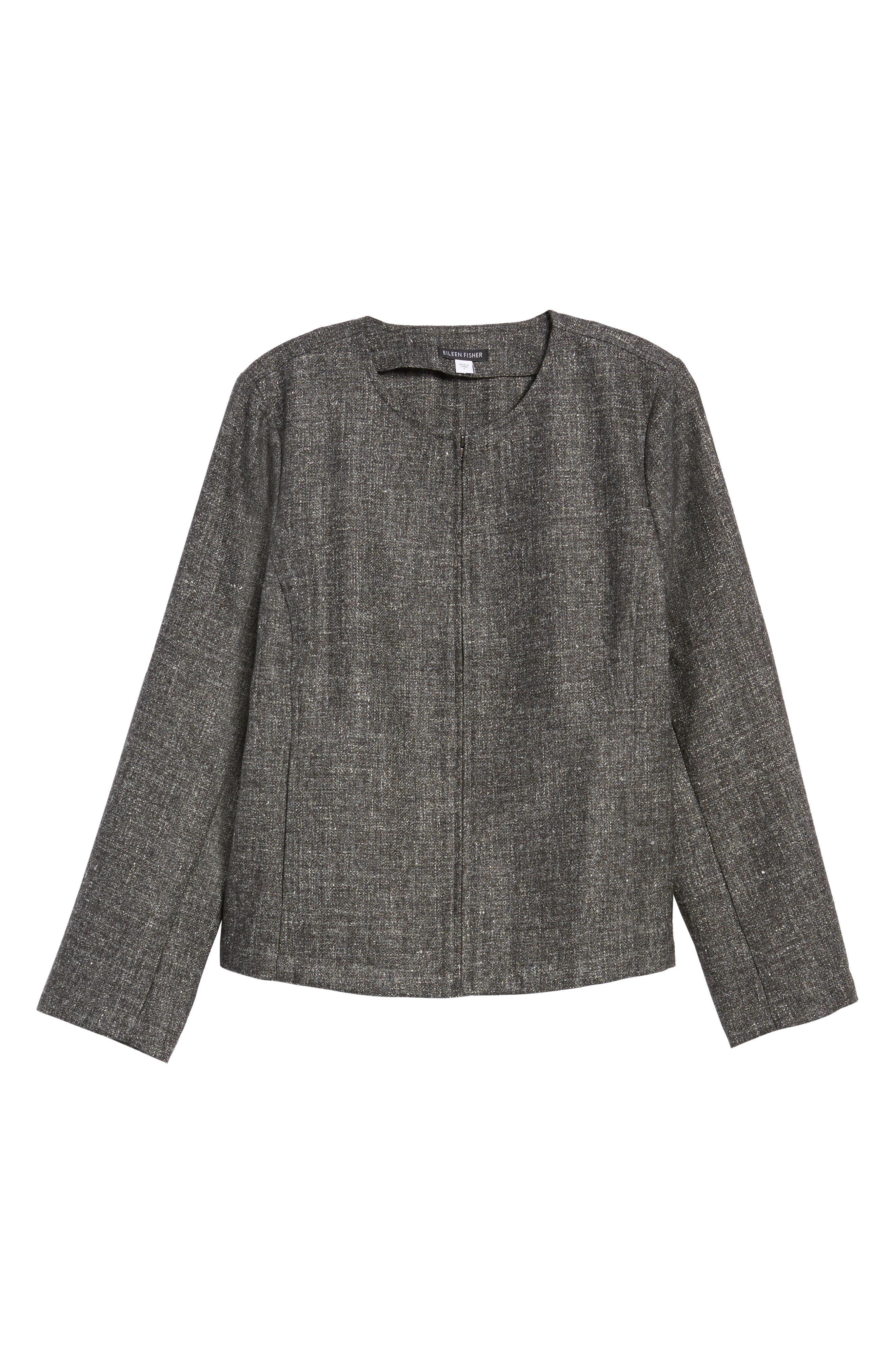 Tweed Jacket,                             Alternate thumbnail 6, color,                             Charcoal
