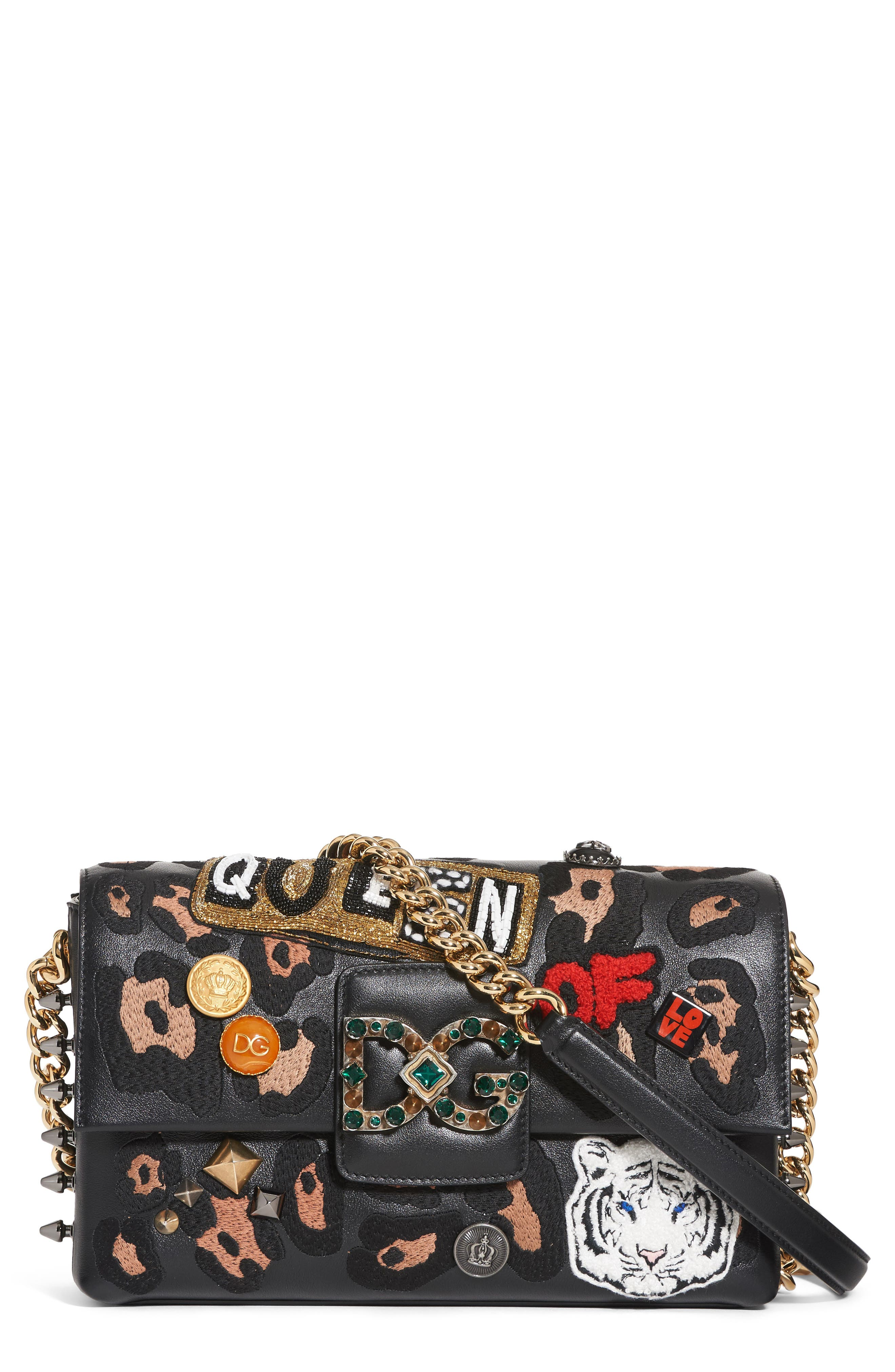 Dolce&Gabbana Millennials Embellished Leather Shoulder Bag