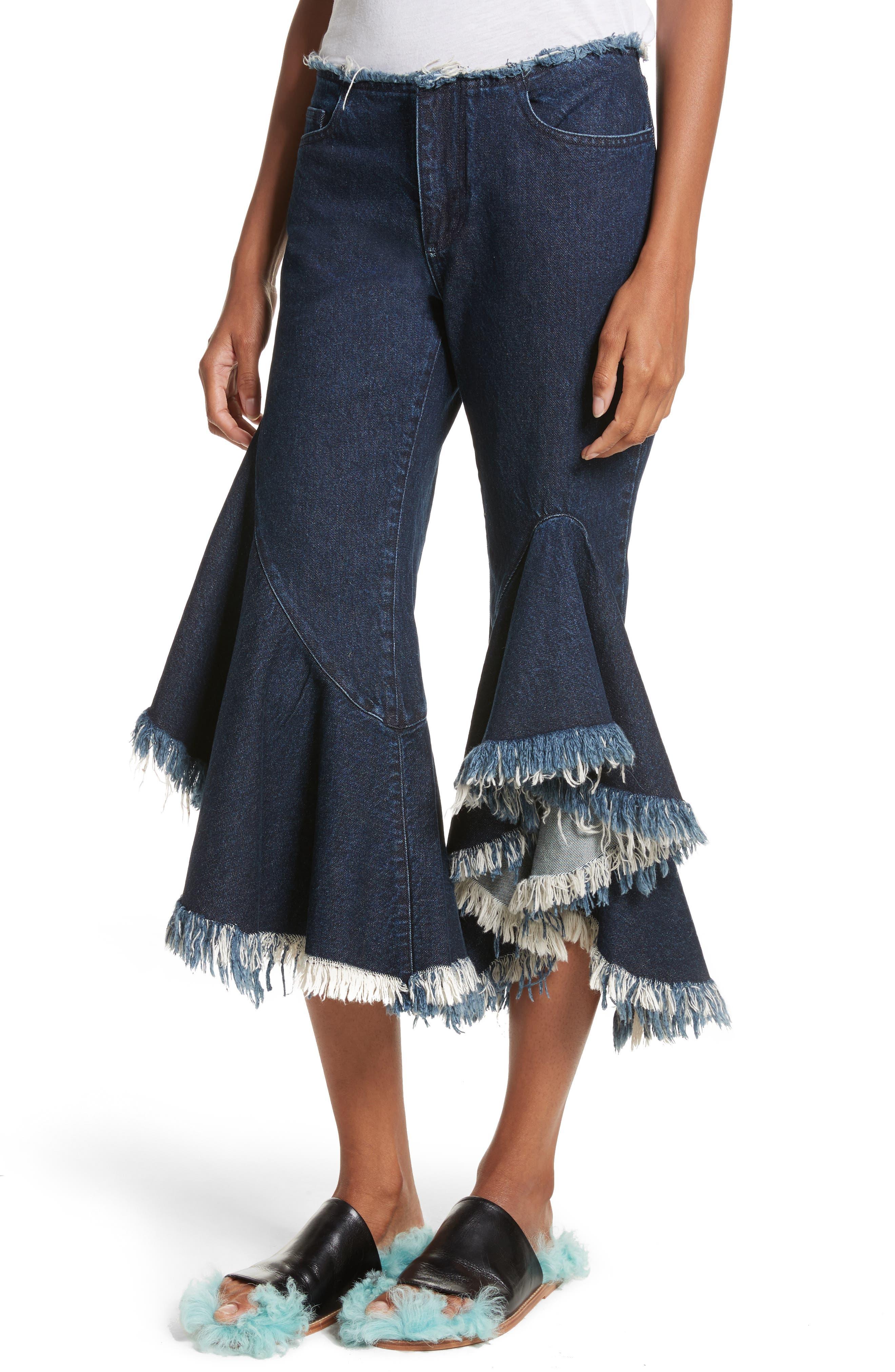 Marques'Almeida Frill Flare Crop Jeans,                             Alternate thumbnail 6, color,                             Indigo