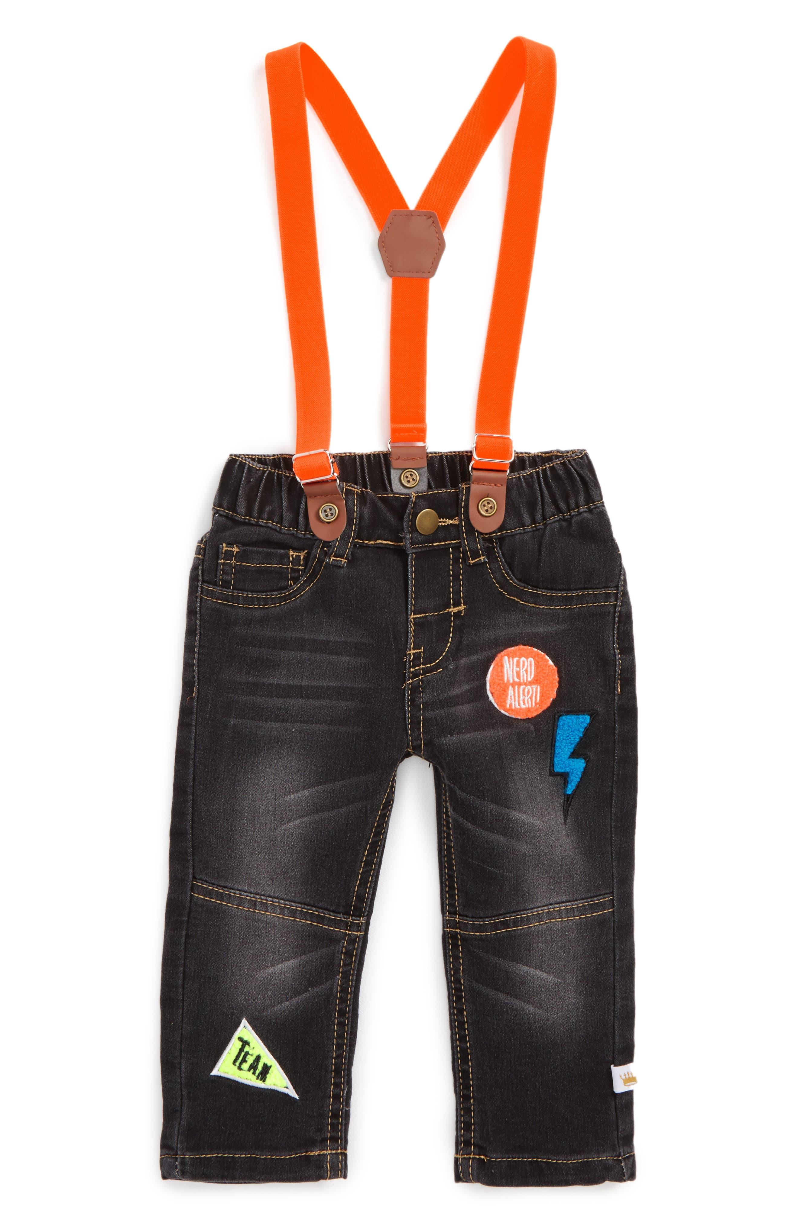Appliqué Suspender Denim Pants,                         Main,                         color, Black