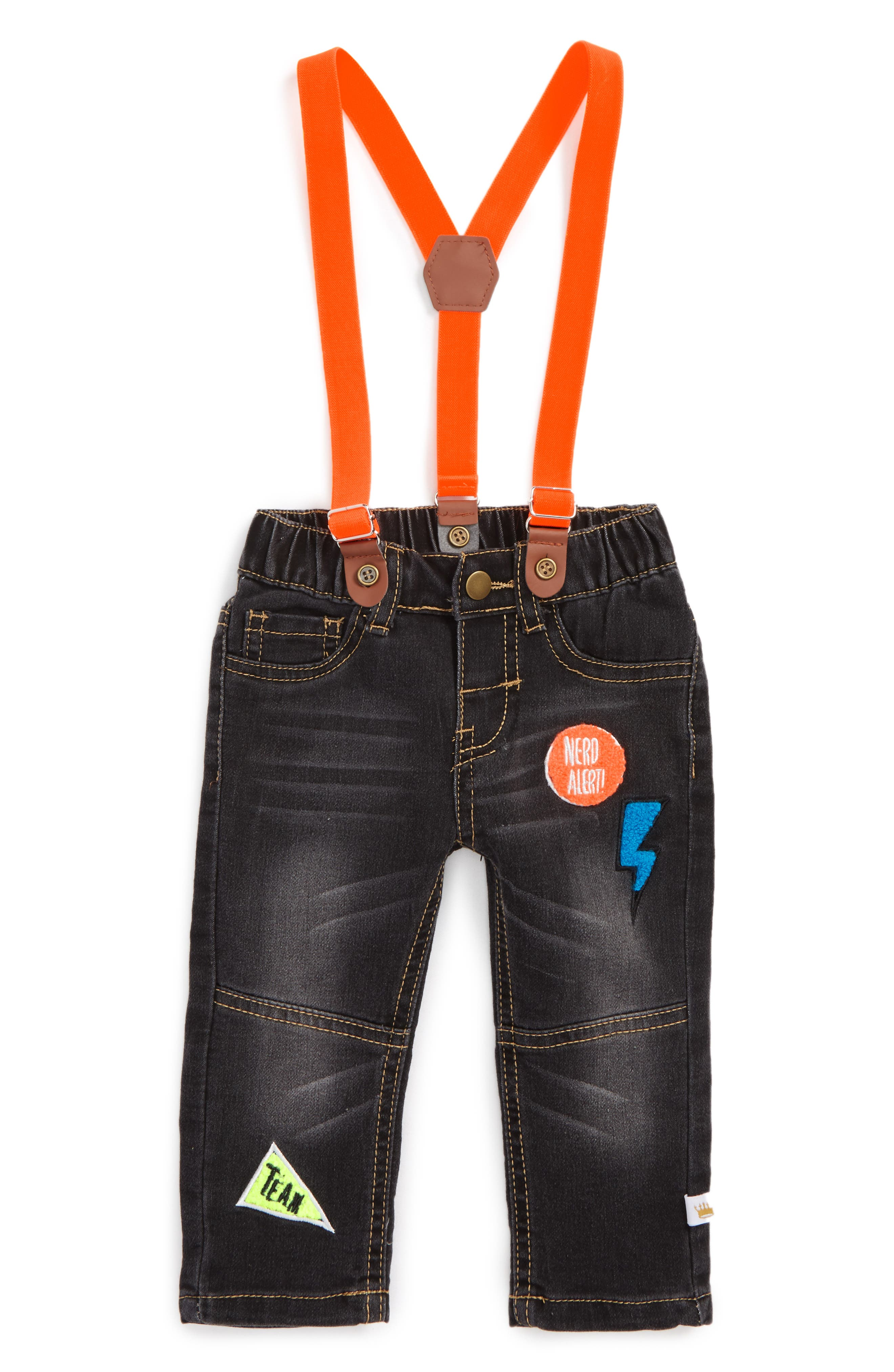 Rosie Pope Appliqué Suspender Denim Pants (Baby Boys)