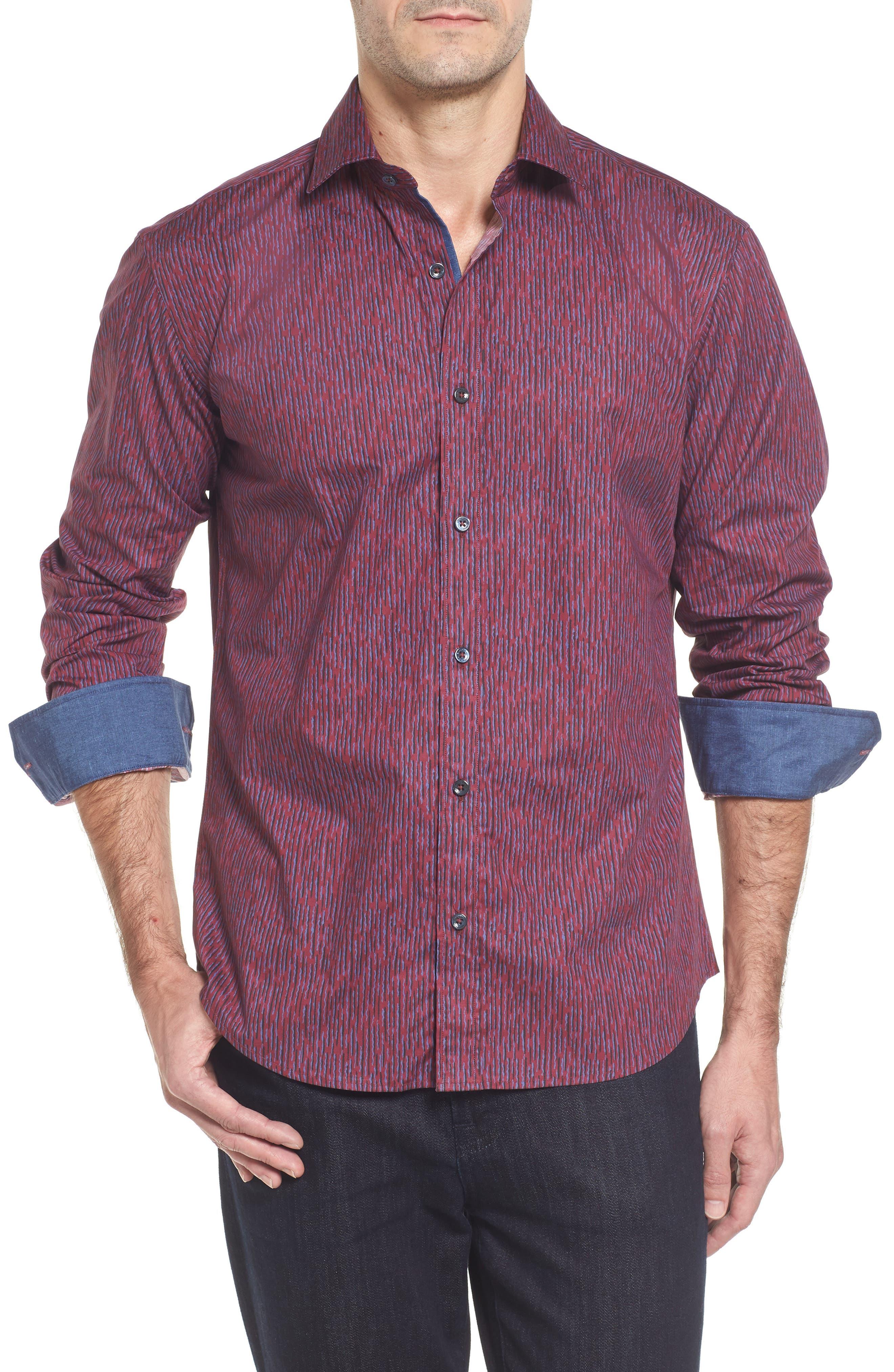 Classic Fit Print Sport Shirt,                         Main,                         color, Wine