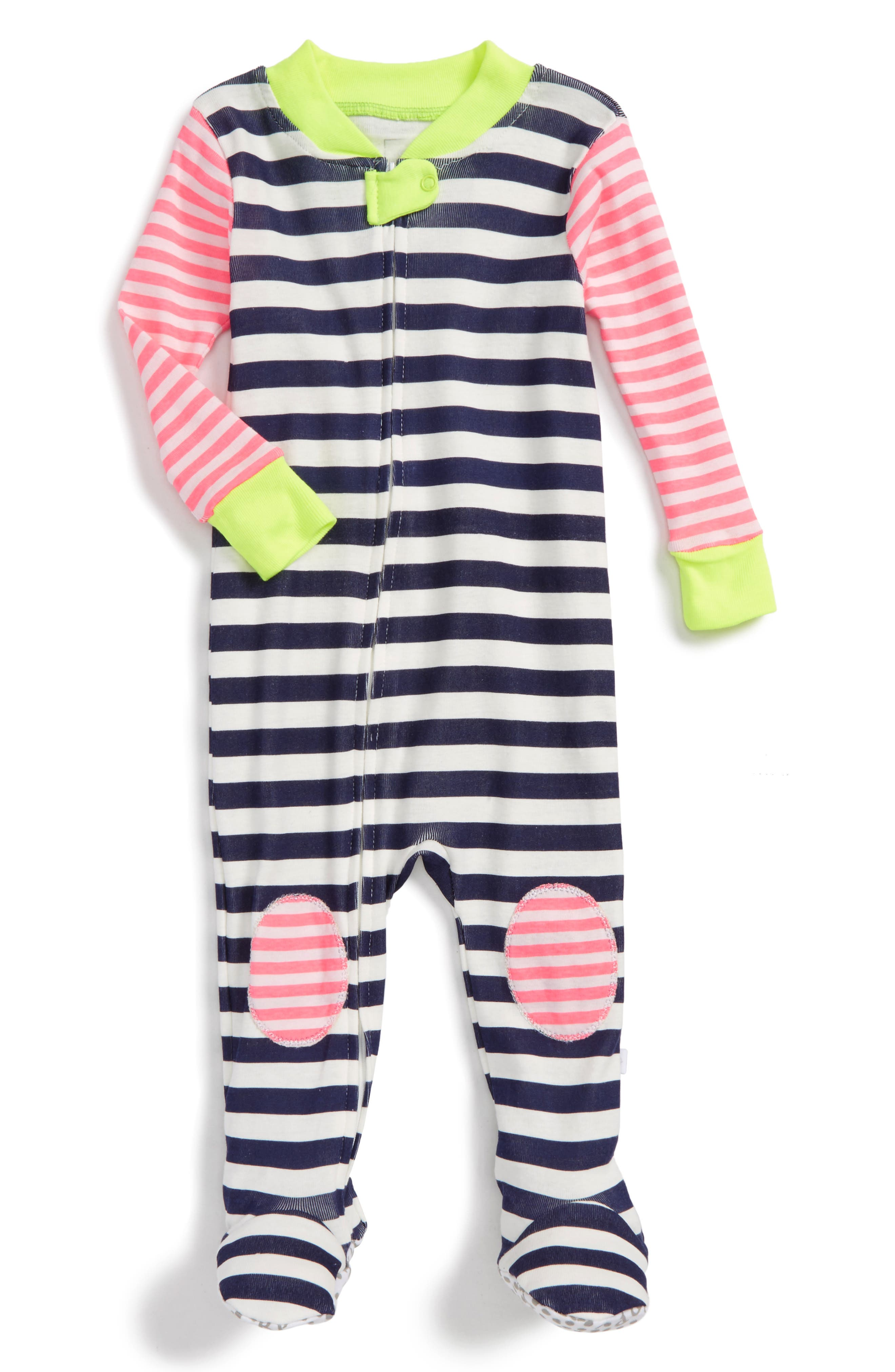 Rosie Pope Fitted One-Piece Footed Pajamas (Baby Girls)