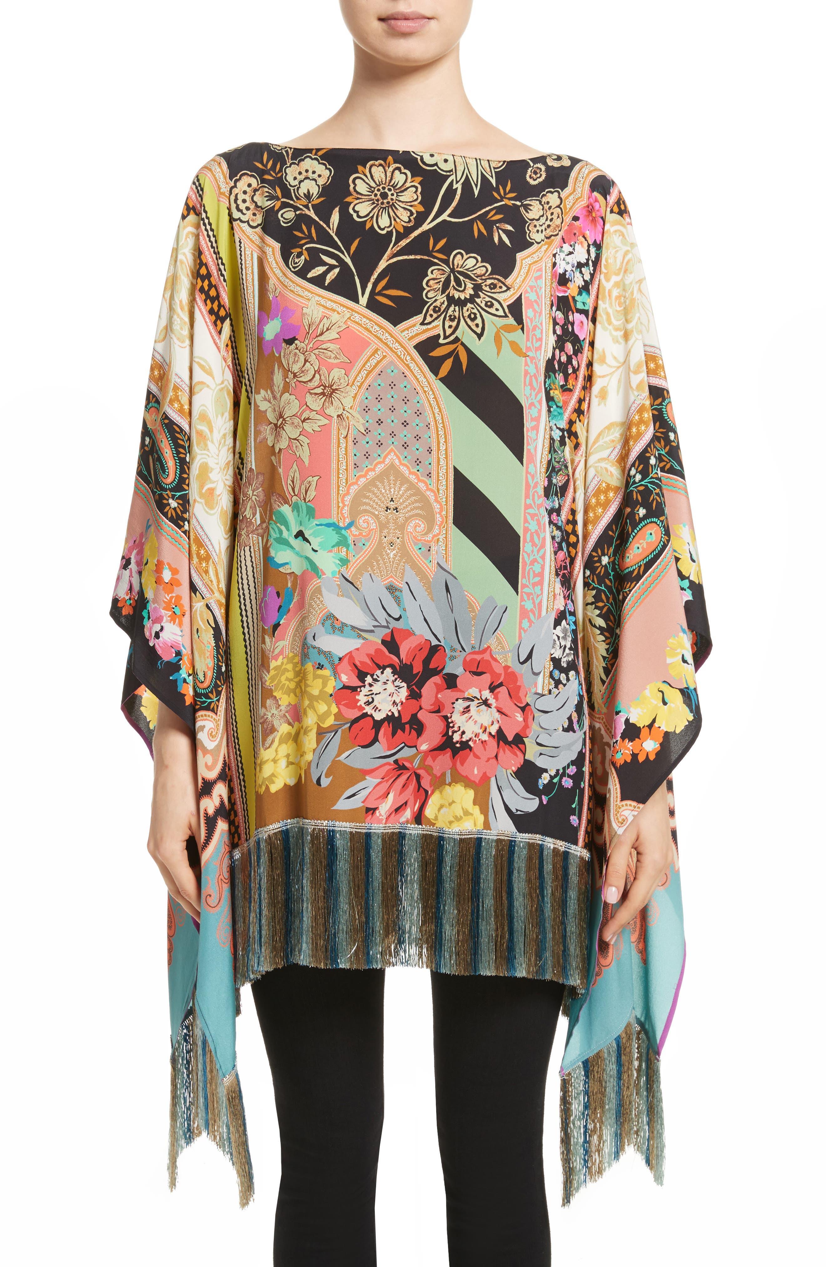 Fringe Hem Silk Poncho,                         Main,                         color, Black