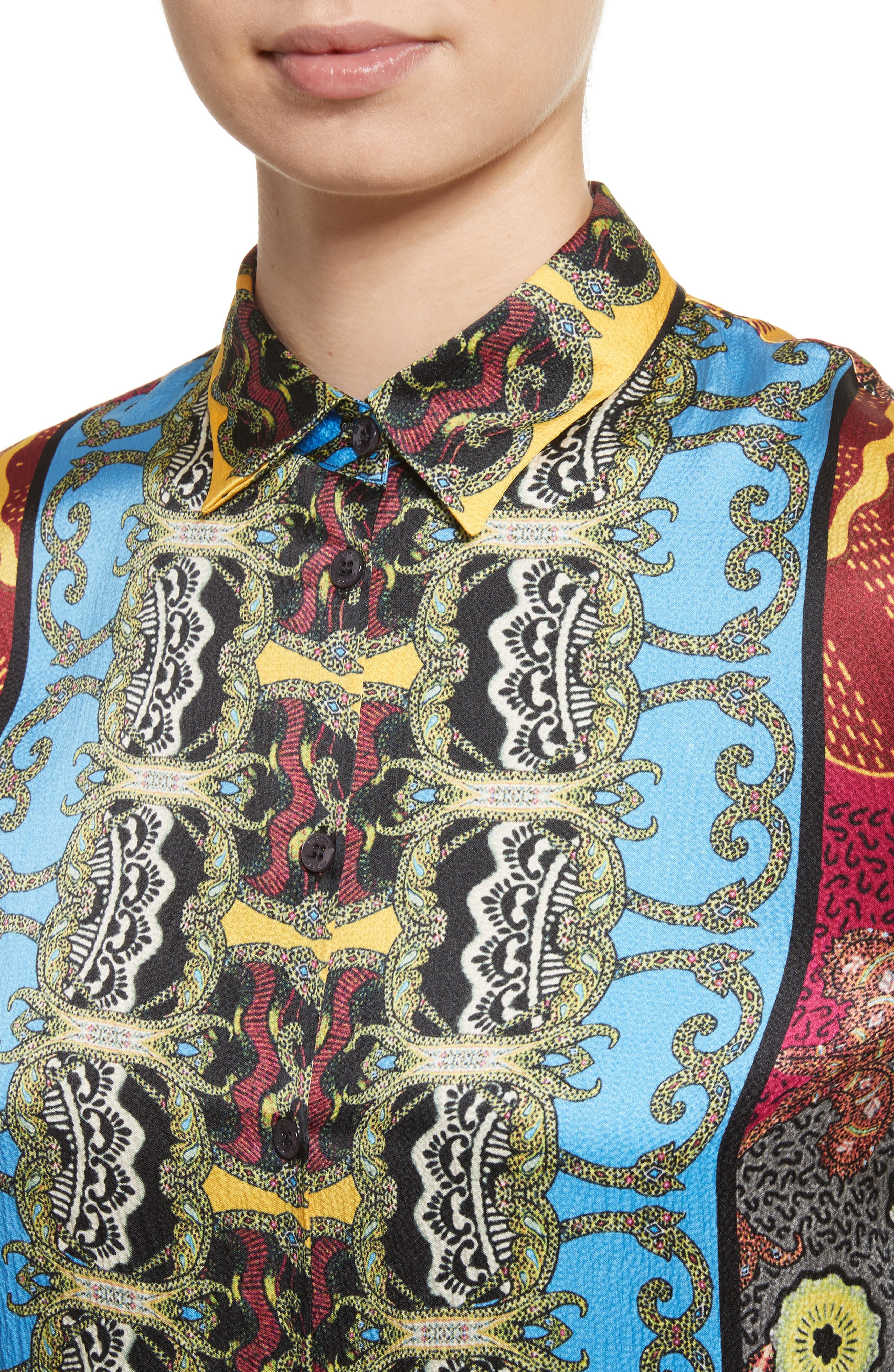 Print Hammered Silk Shirt,                             Alternate thumbnail 4, color,                             Multi