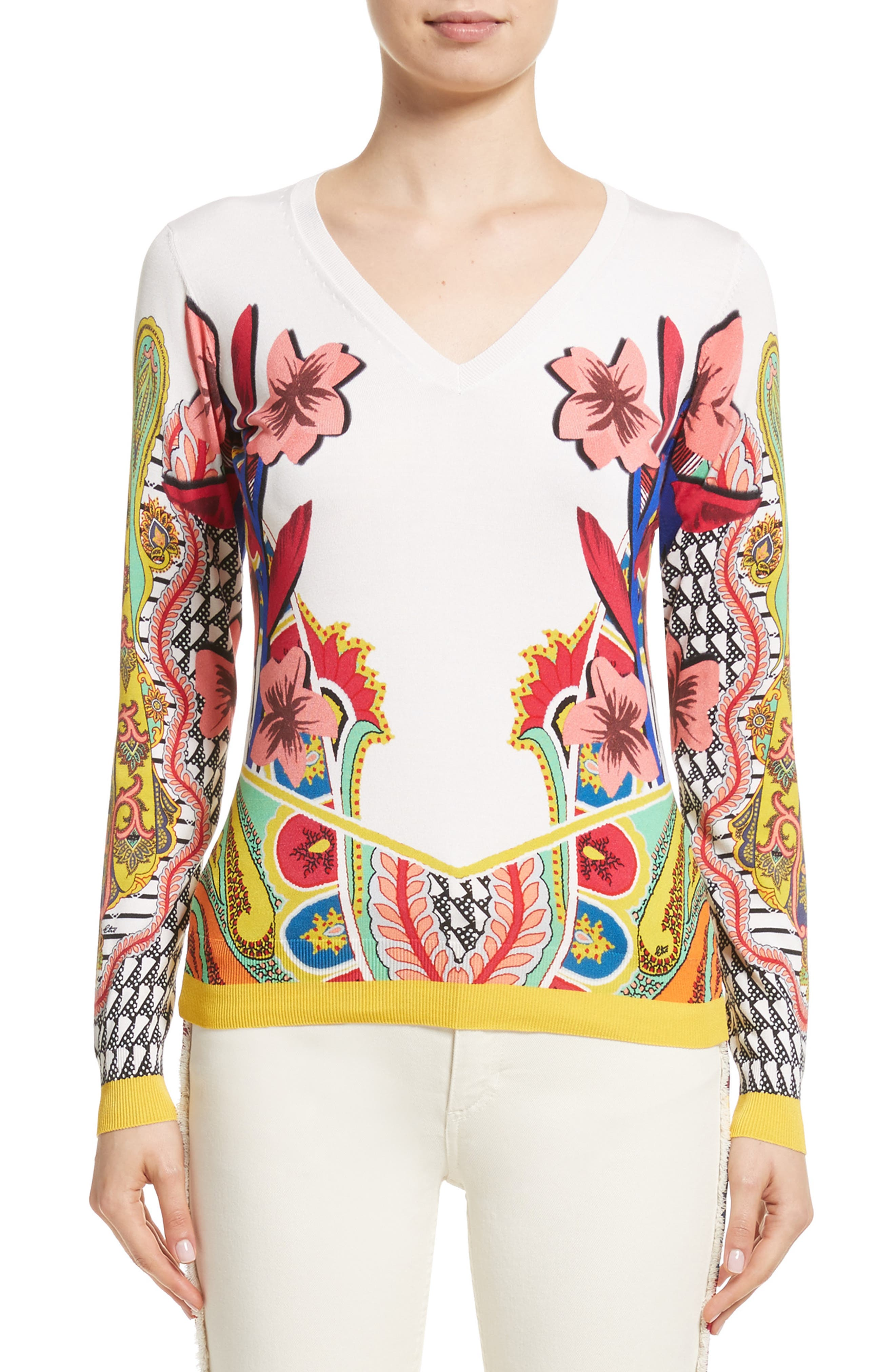 Floral Stretch Silk Sweater,                         Main,                         color, White