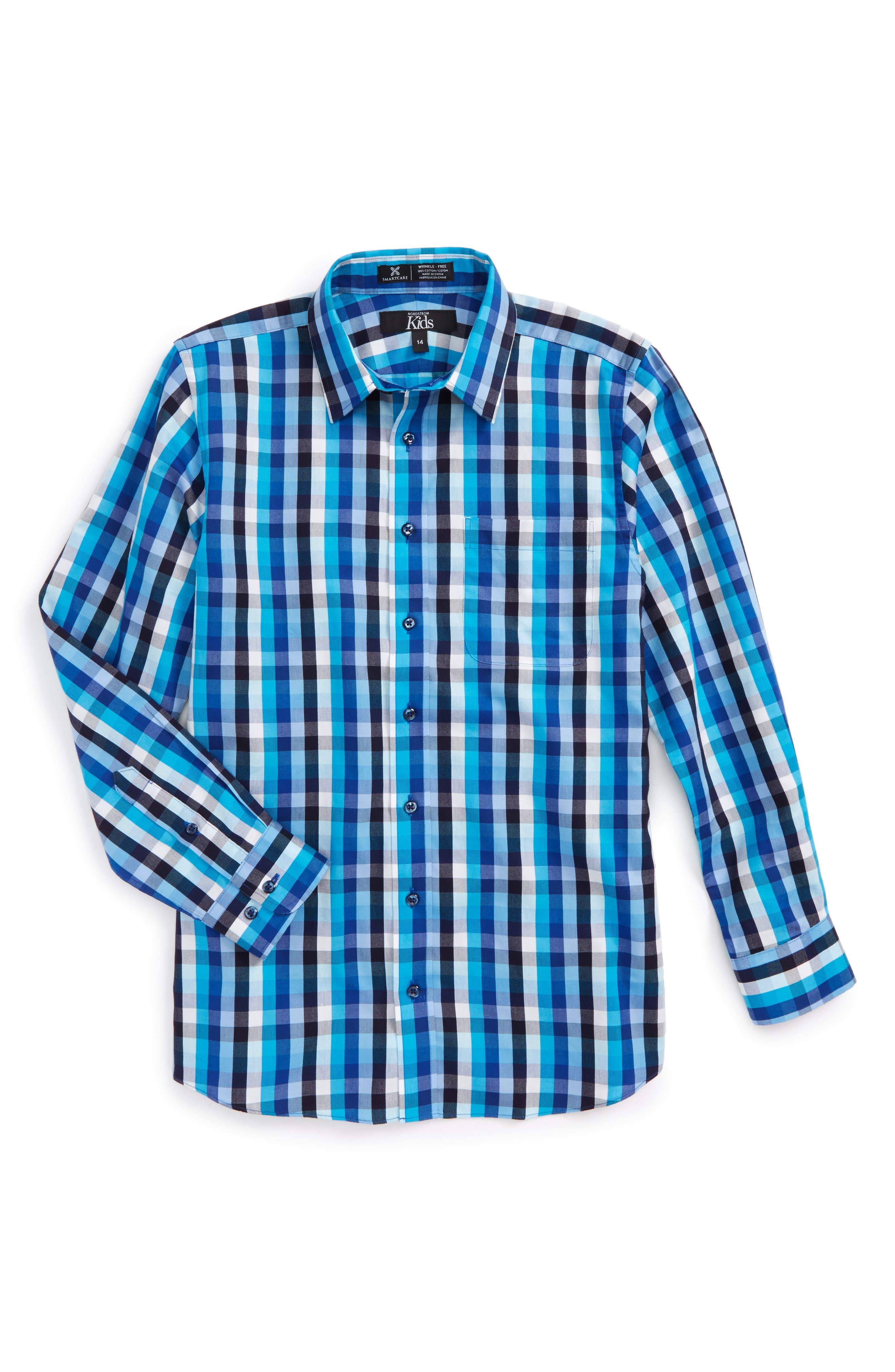 Main Image - Nordstrom Smartcare™ Danube Plaid Dress Shirt (Big Boys)