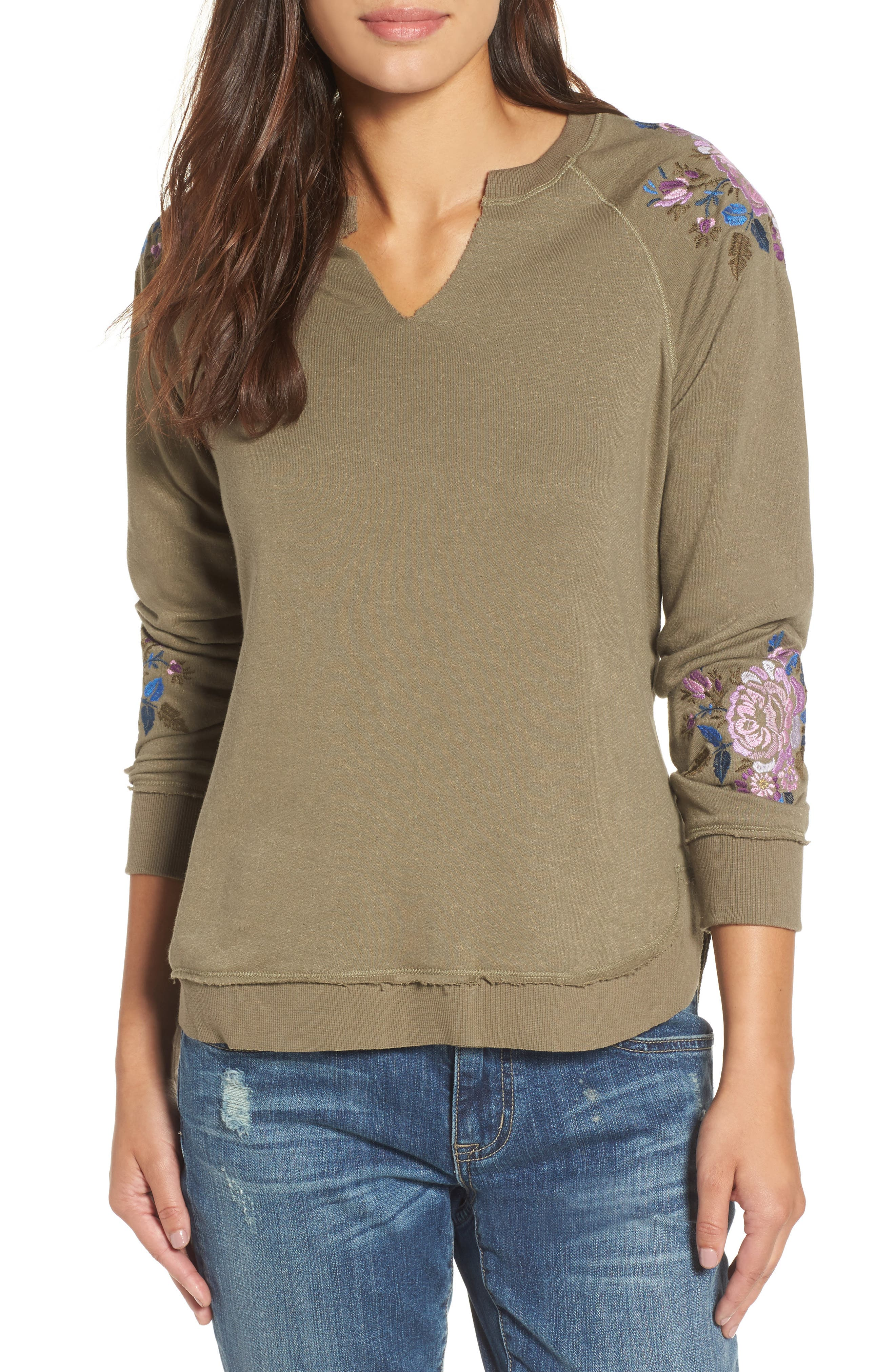 Embroidered Sweater,                         Main,                         color, Olive Drab