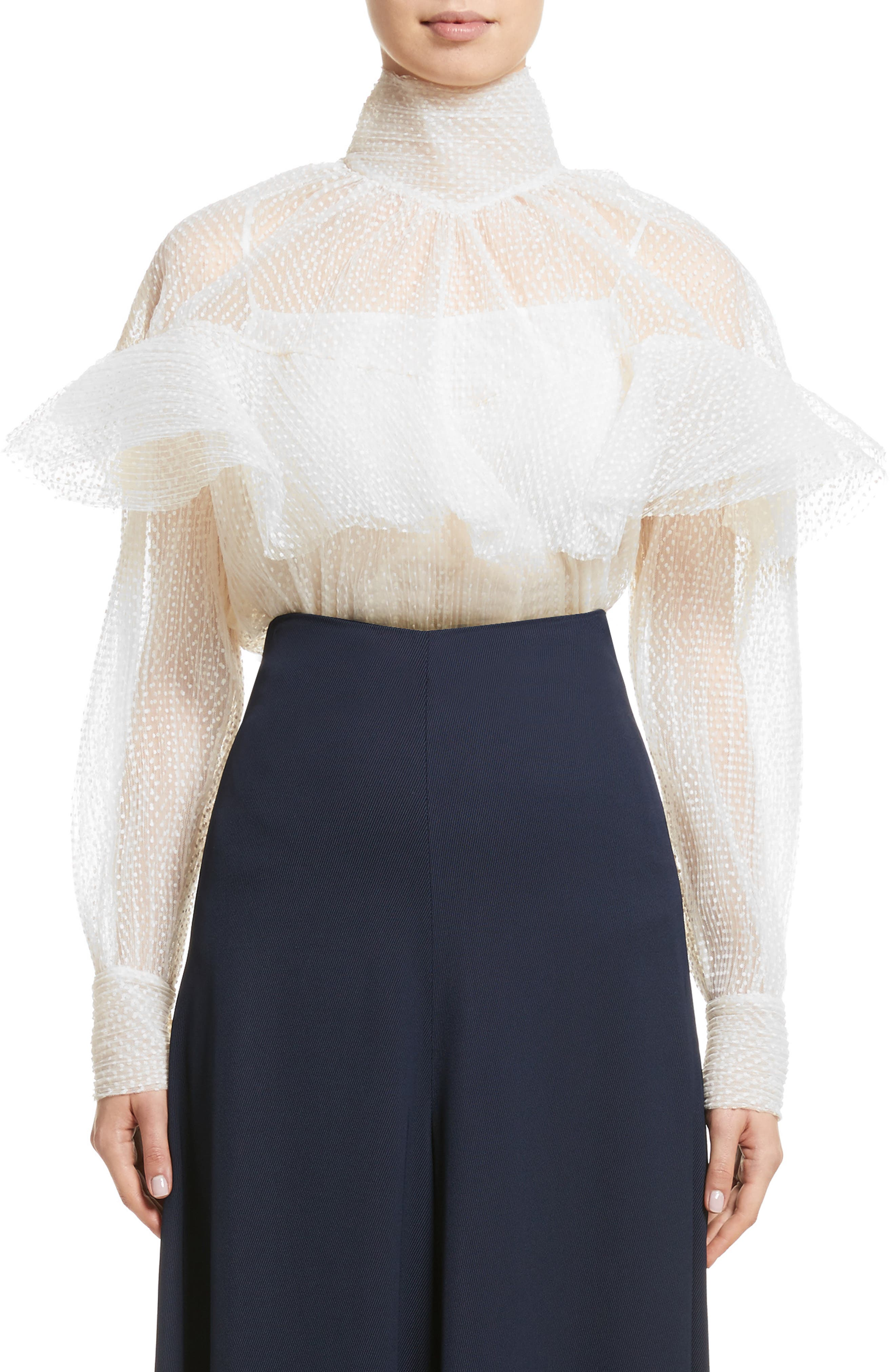 A.W.A.K.E Frill Double Layered Tulle Top,                             Main thumbnail 1, color,                             Cream