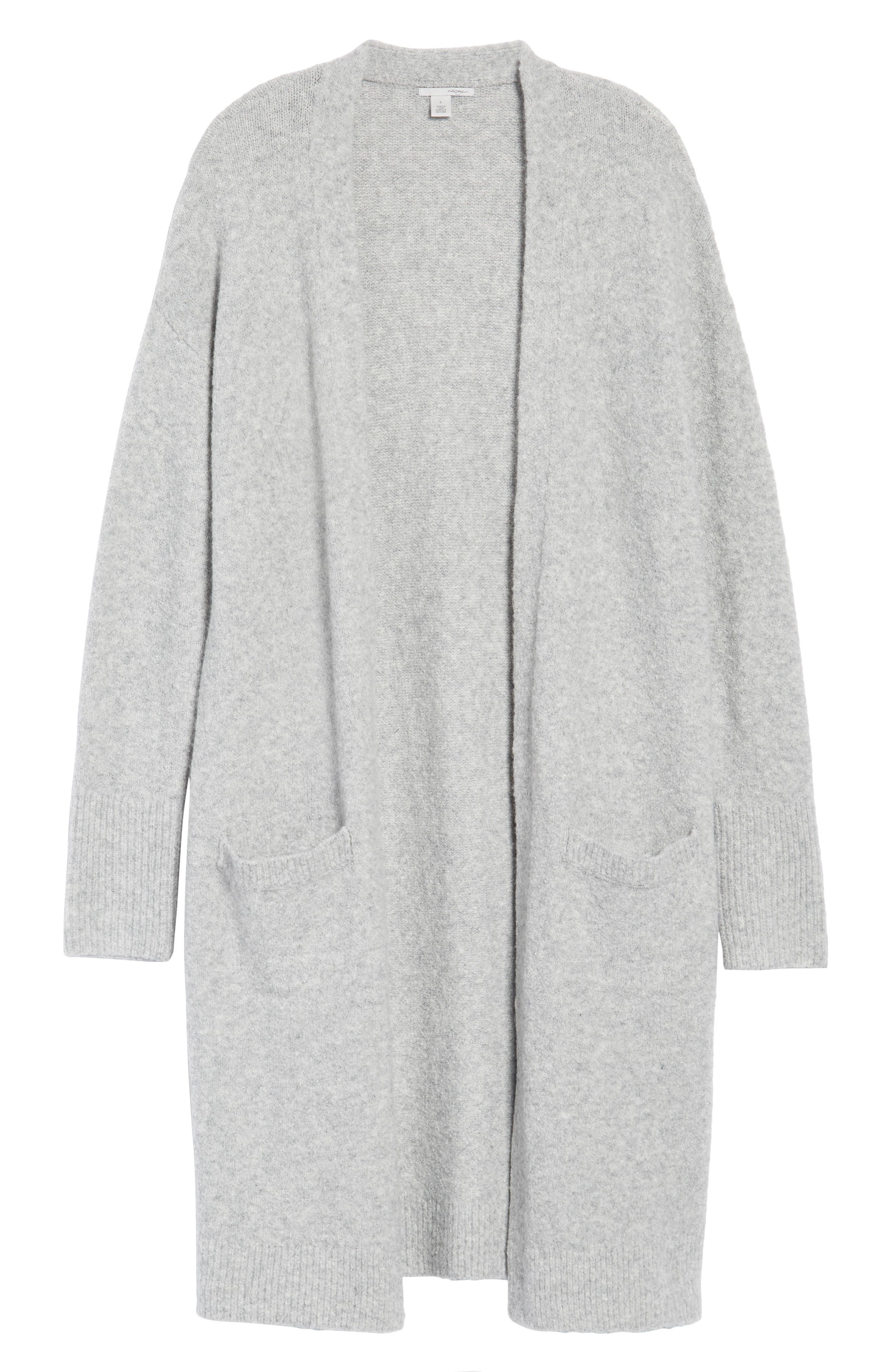 Open Front Cardigan,                             Alternate thumbnail 6, color,                             Heather Grey