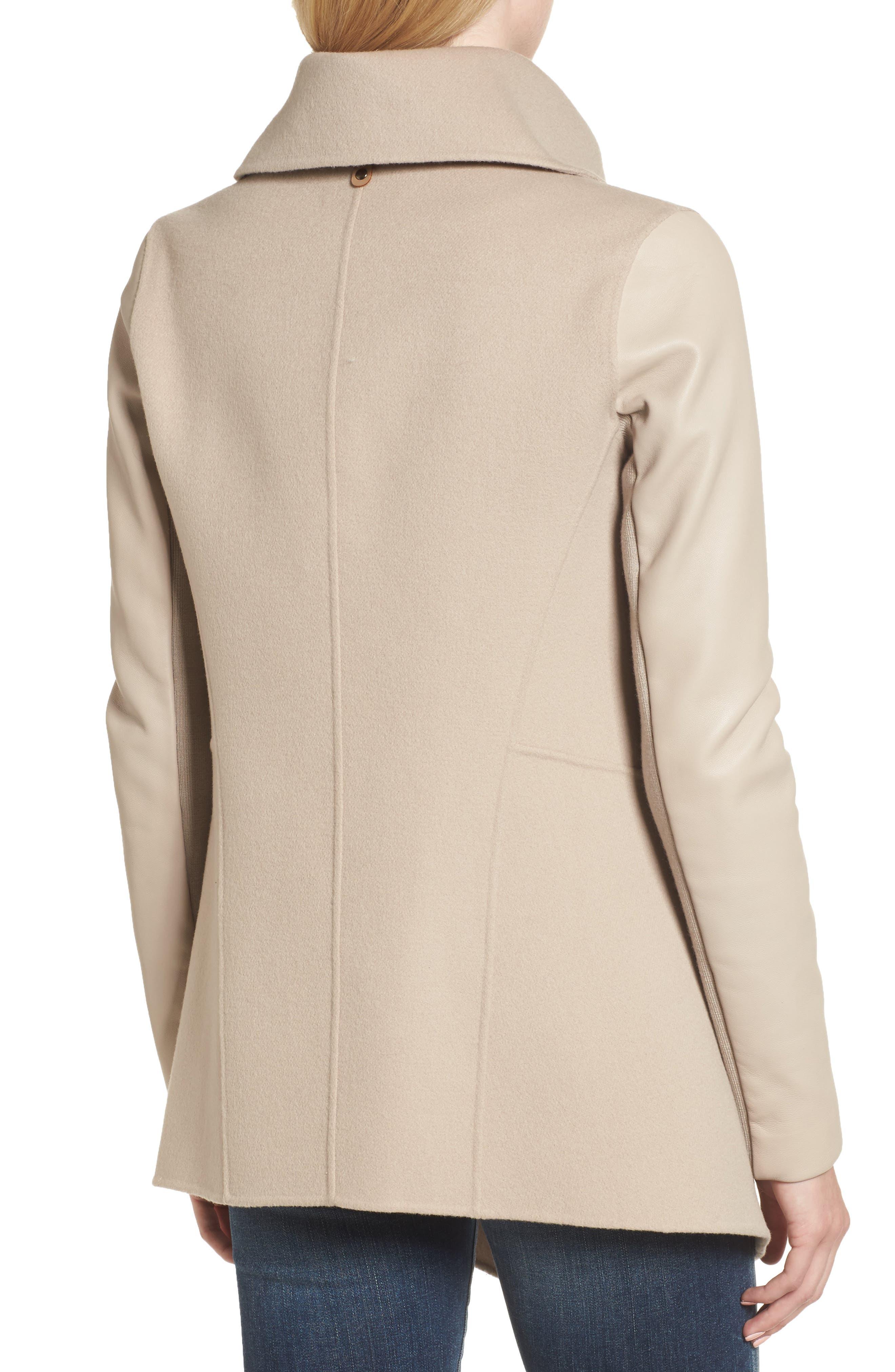 Vane Asymmetrical Leather Sleeve Coat,                             Alternate thumbnail 2, color,                             Sand