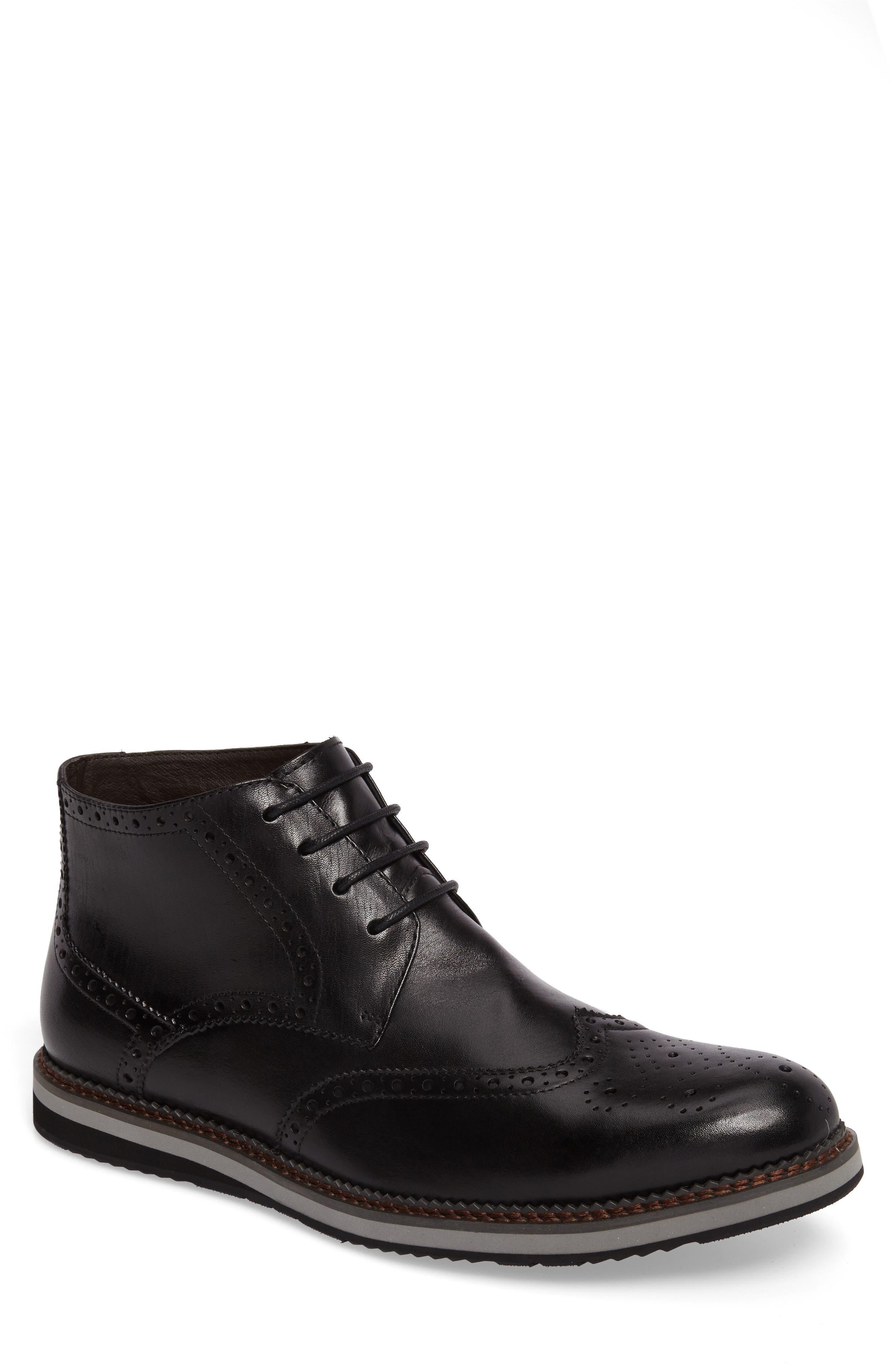 Ascot Wingtip Boot,                         Main,                         color, Black Leather