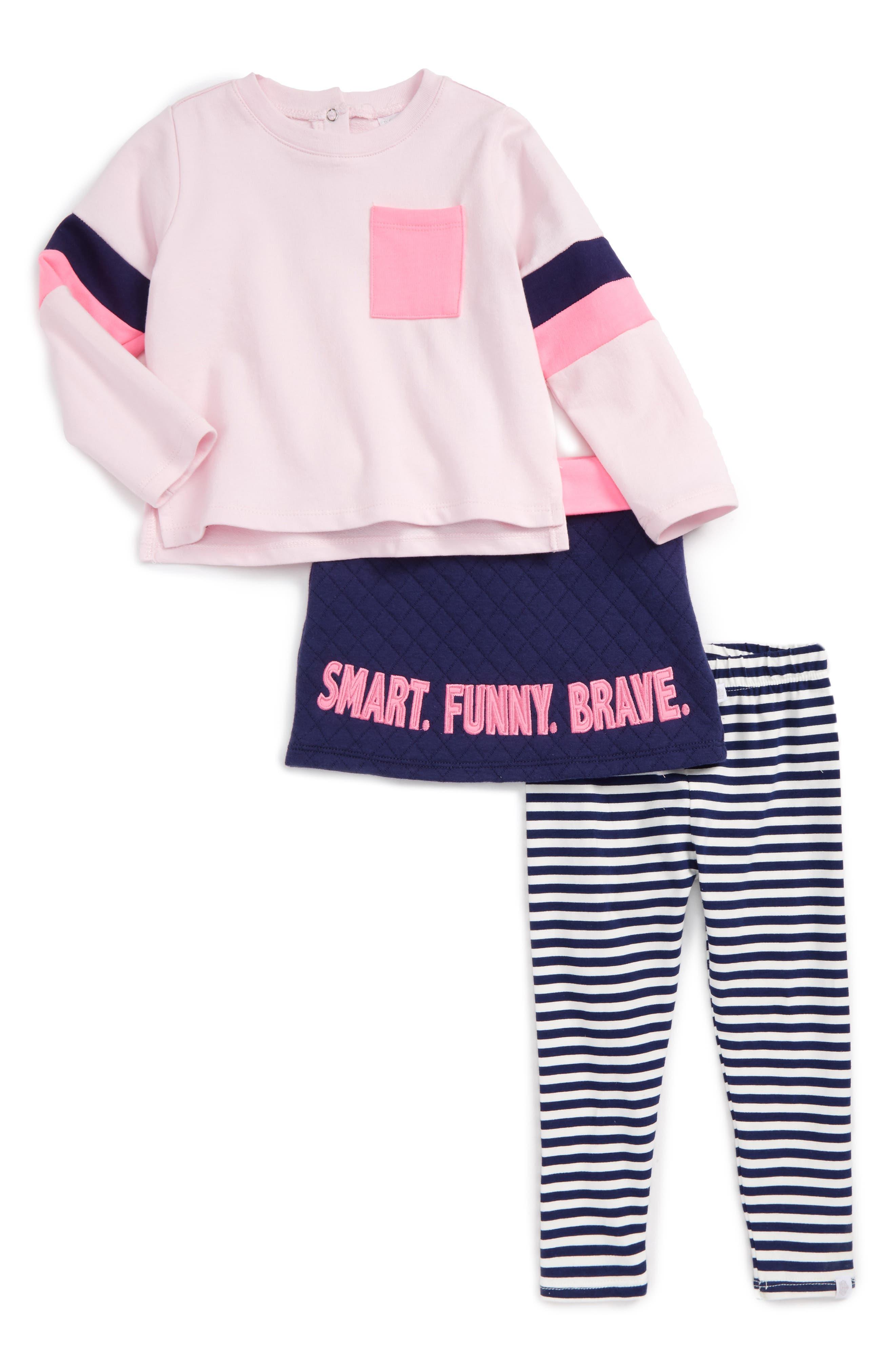 Main Image - Rosie Pope Smart Funny Brave Tee, Leggings & Skirt Set (Baby Girls)