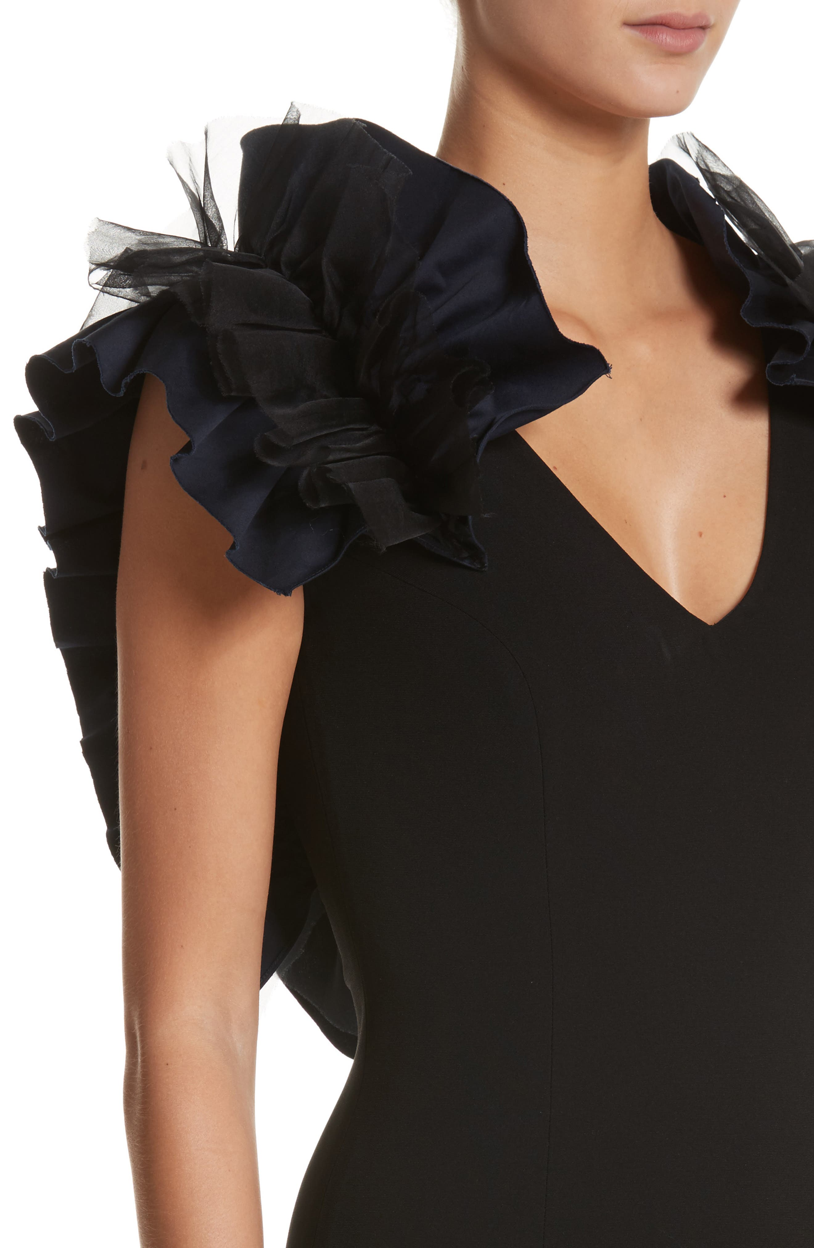Organza Ruffle Gown,                             Alternate thumbnail 4, color,                             Jet